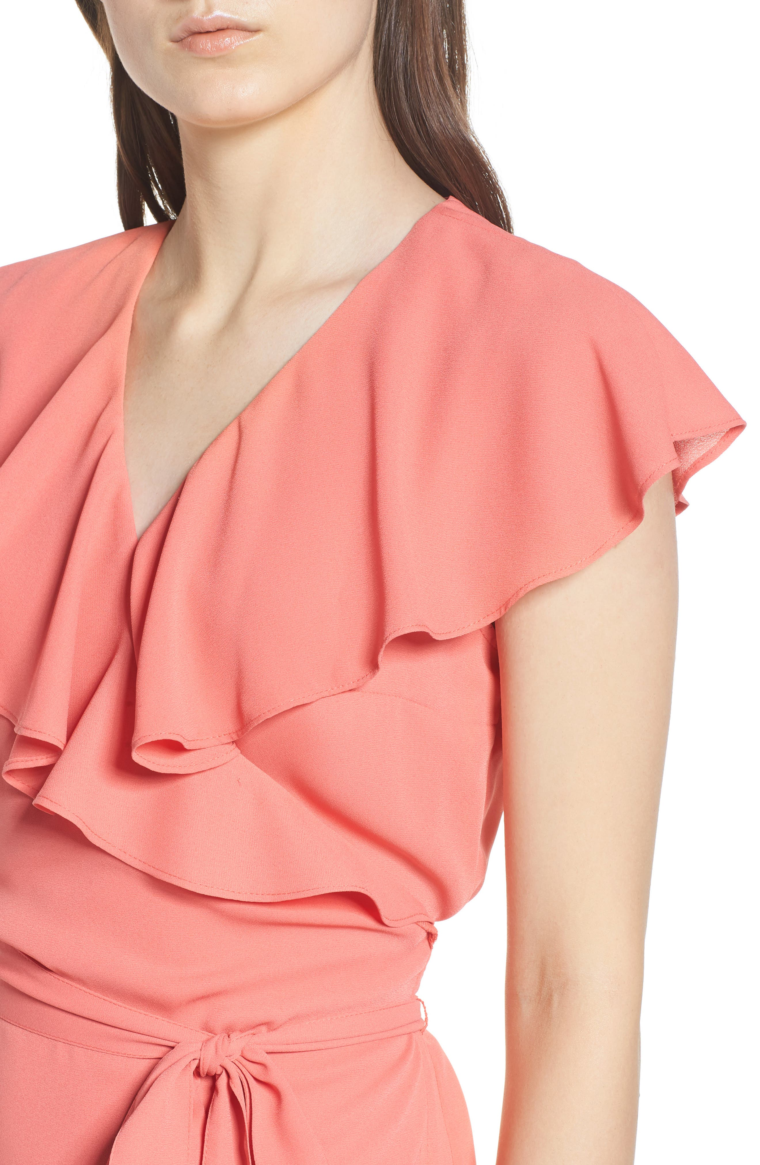 Wrap Top,                             Alternate thumbnail 4, color,                             Coral Spice