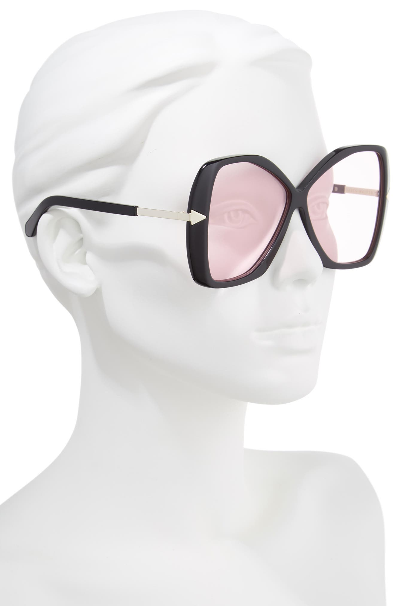 Mary 60mm Butterfly Sunglasses,                             Alternate thumbnail 2, color,                             Black