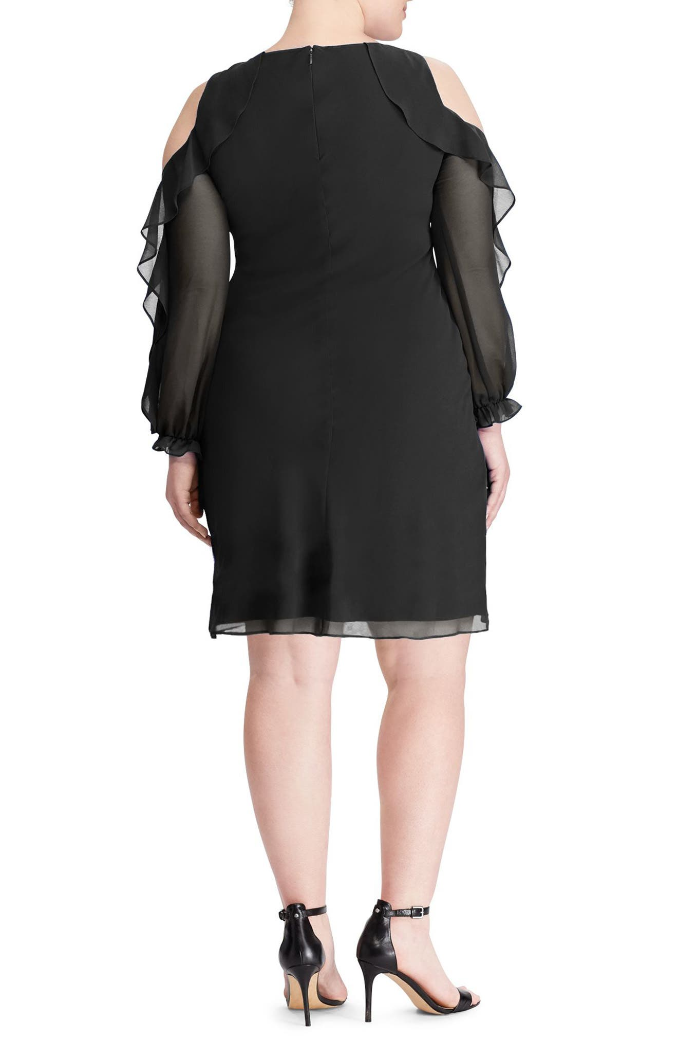 Paiva Ruffle Cold Shoulder Georgette Dress,                             Alternate thumbnail 2, color,                             Black