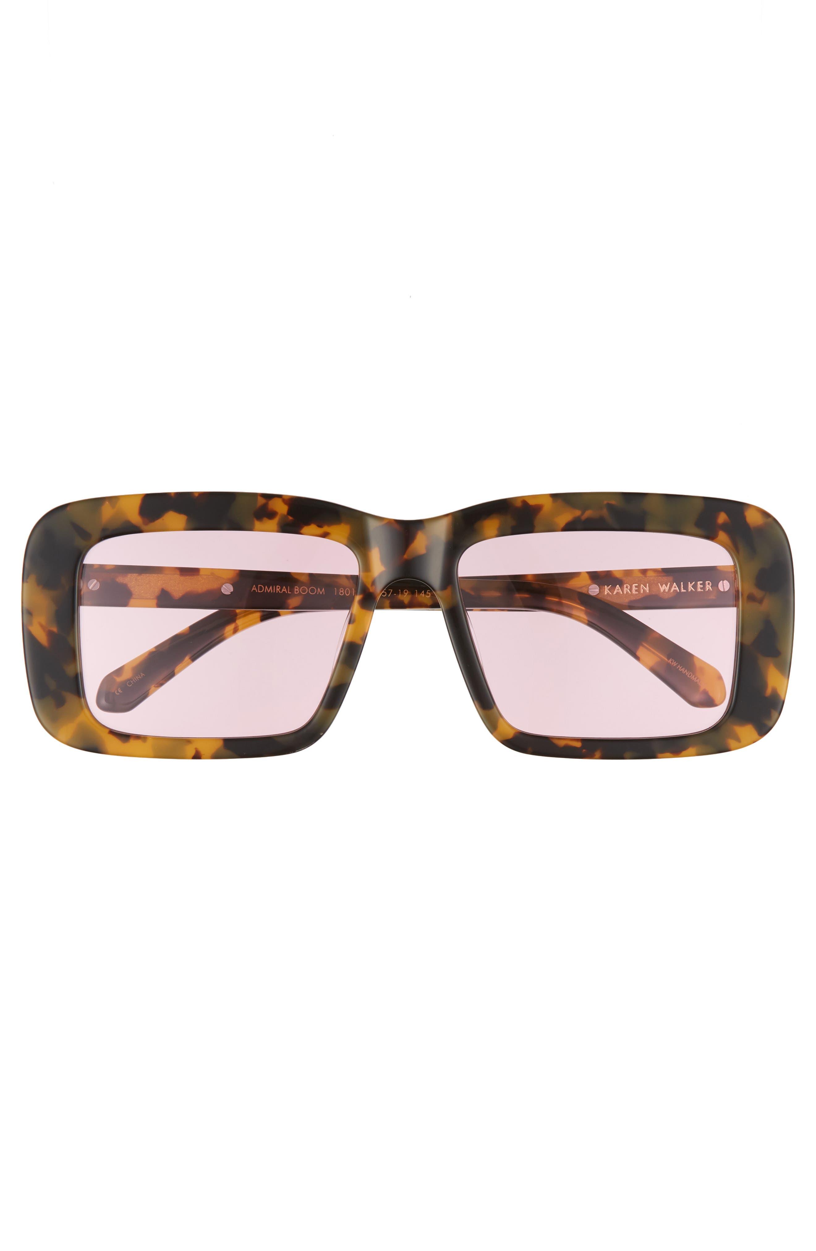 Admiral Boom 57mm Square Sunglasses,                             Alternate thumbnail 3, color,                             Crazy Tortoise