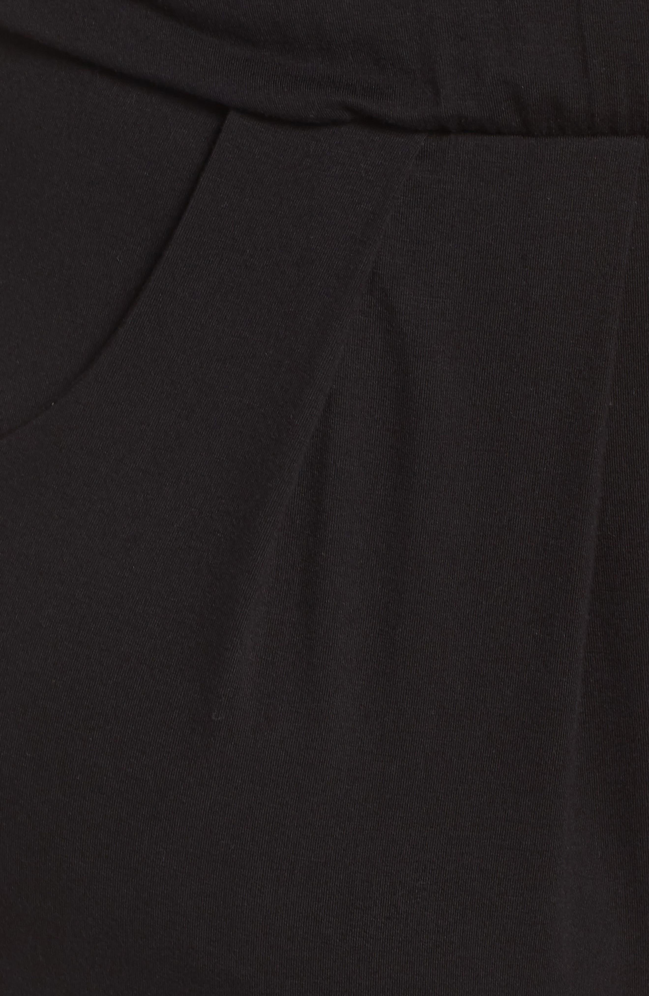 Short Sleeve Wrap Top Jumpsuit,                             Alternate thumbnail 6, color,                             Black