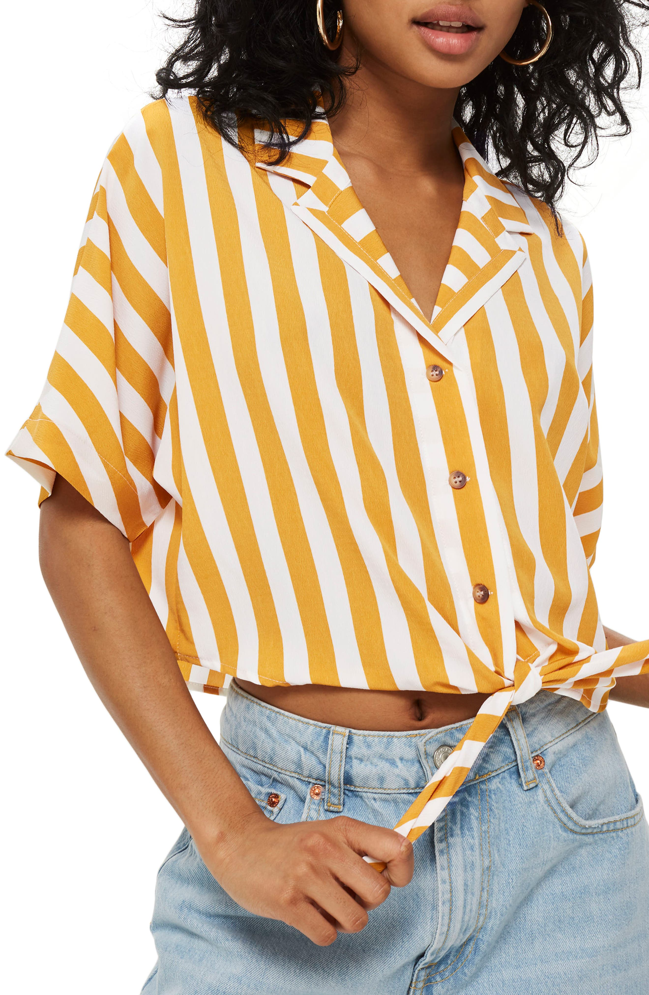 Stripe Tie Front Cropped Collar Shirt,                             Main thumbnail 1, color,                             Mustard Multi