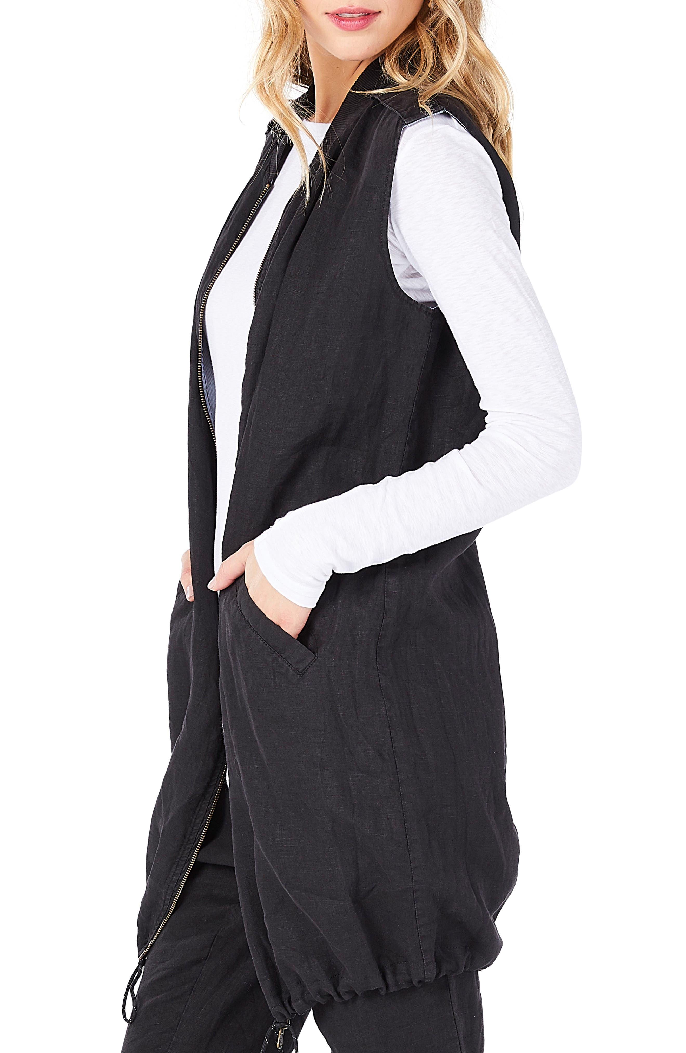 Reversible Bomber Vest,                             Alternate thumbnail 3, color,                             Black