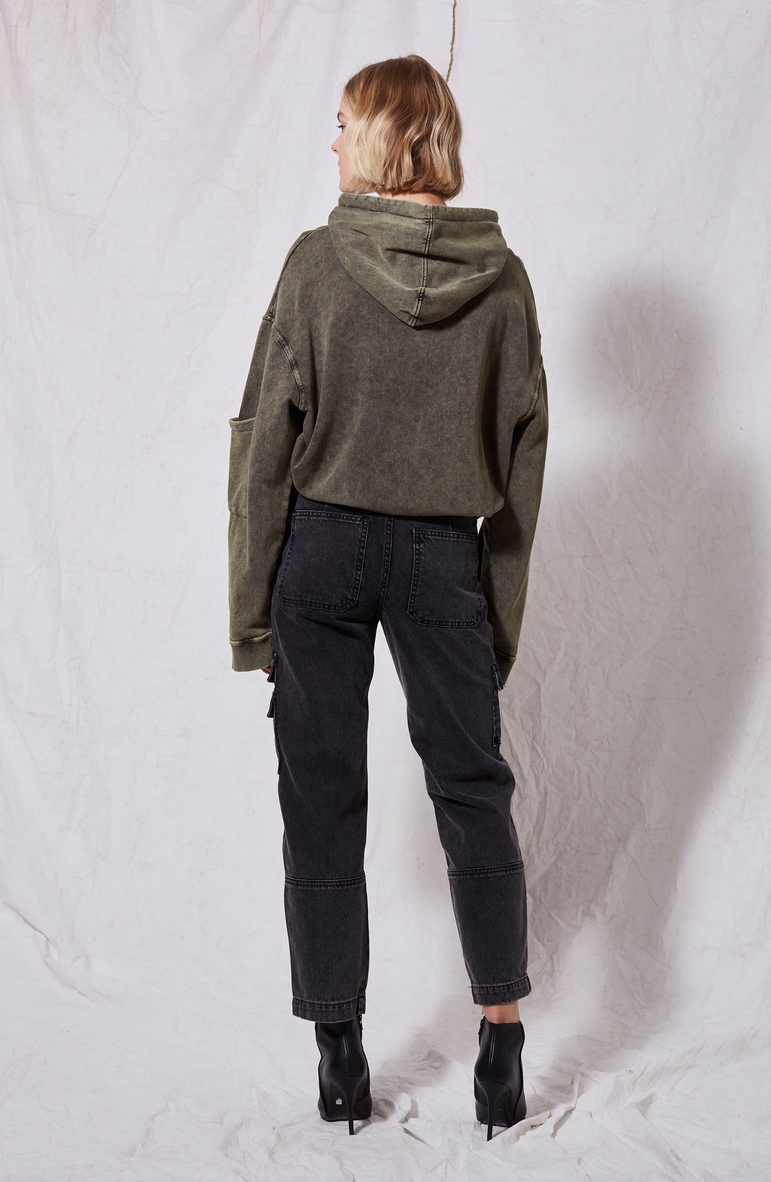 Washed Black Biker Jeans,                             Alternate thumbnail 2, color,