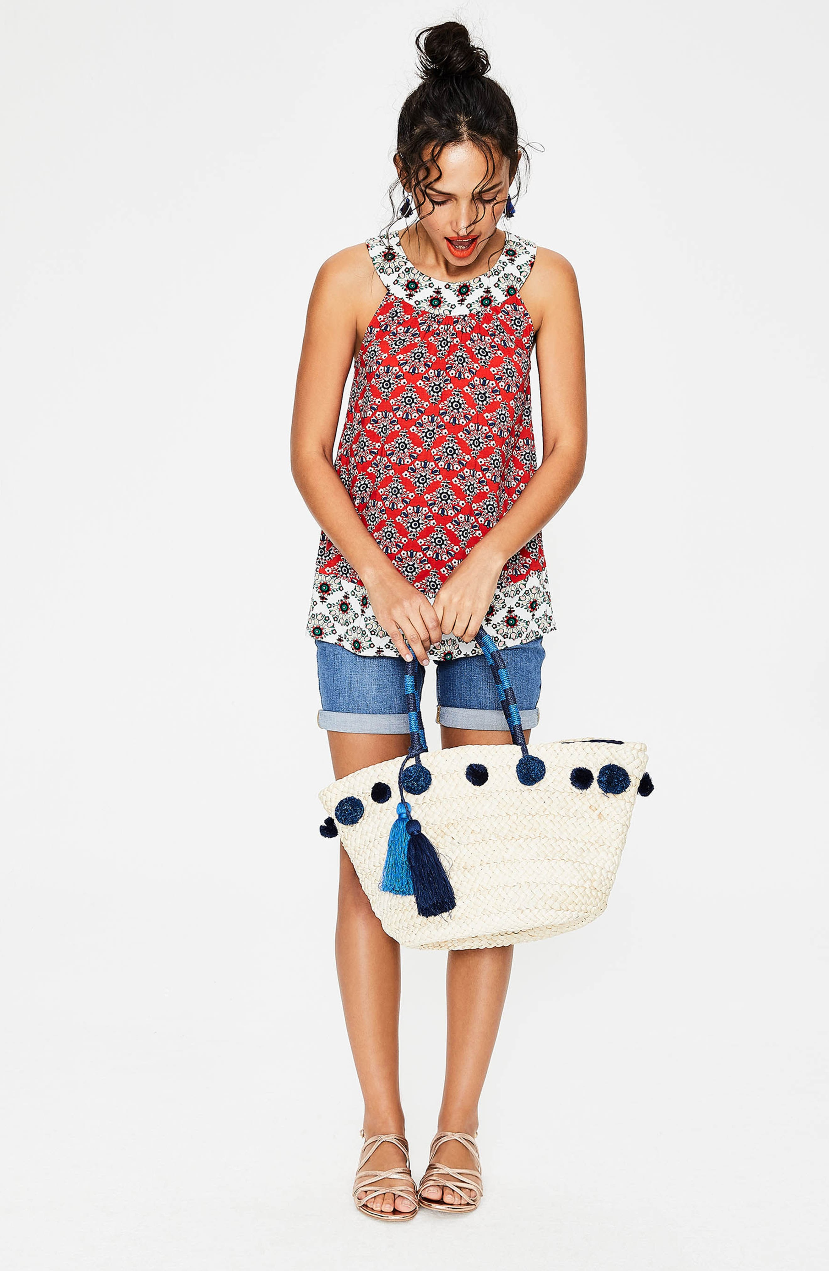 Print Mix Swing Top,                             Alternate thumbnail 2, color,                             Red Pop Floral Bouq
