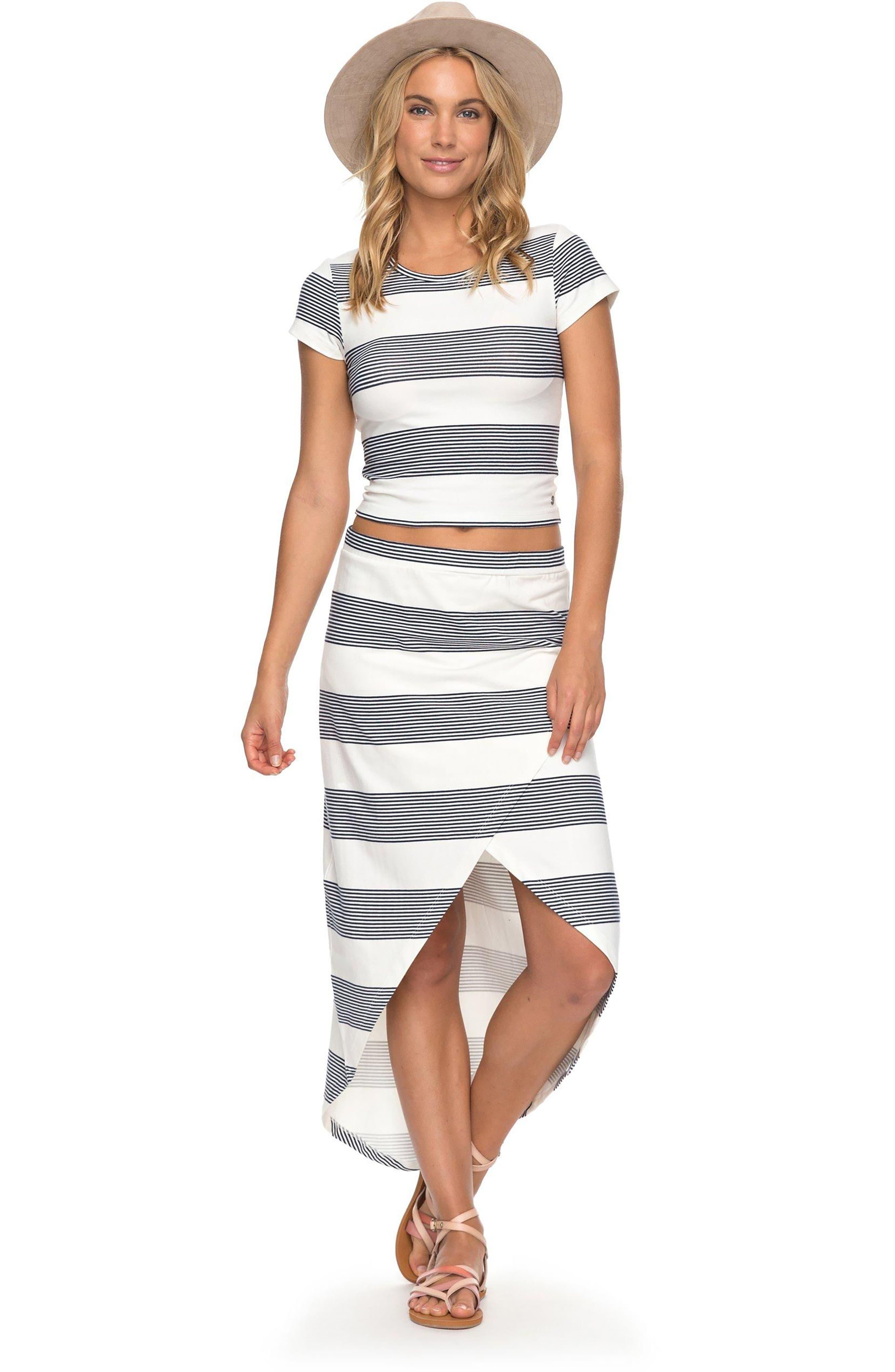 Parker Stripe Crop Top,                             Alternate thumbnail 2, color,                             Marshmallow Dress Blue Docker