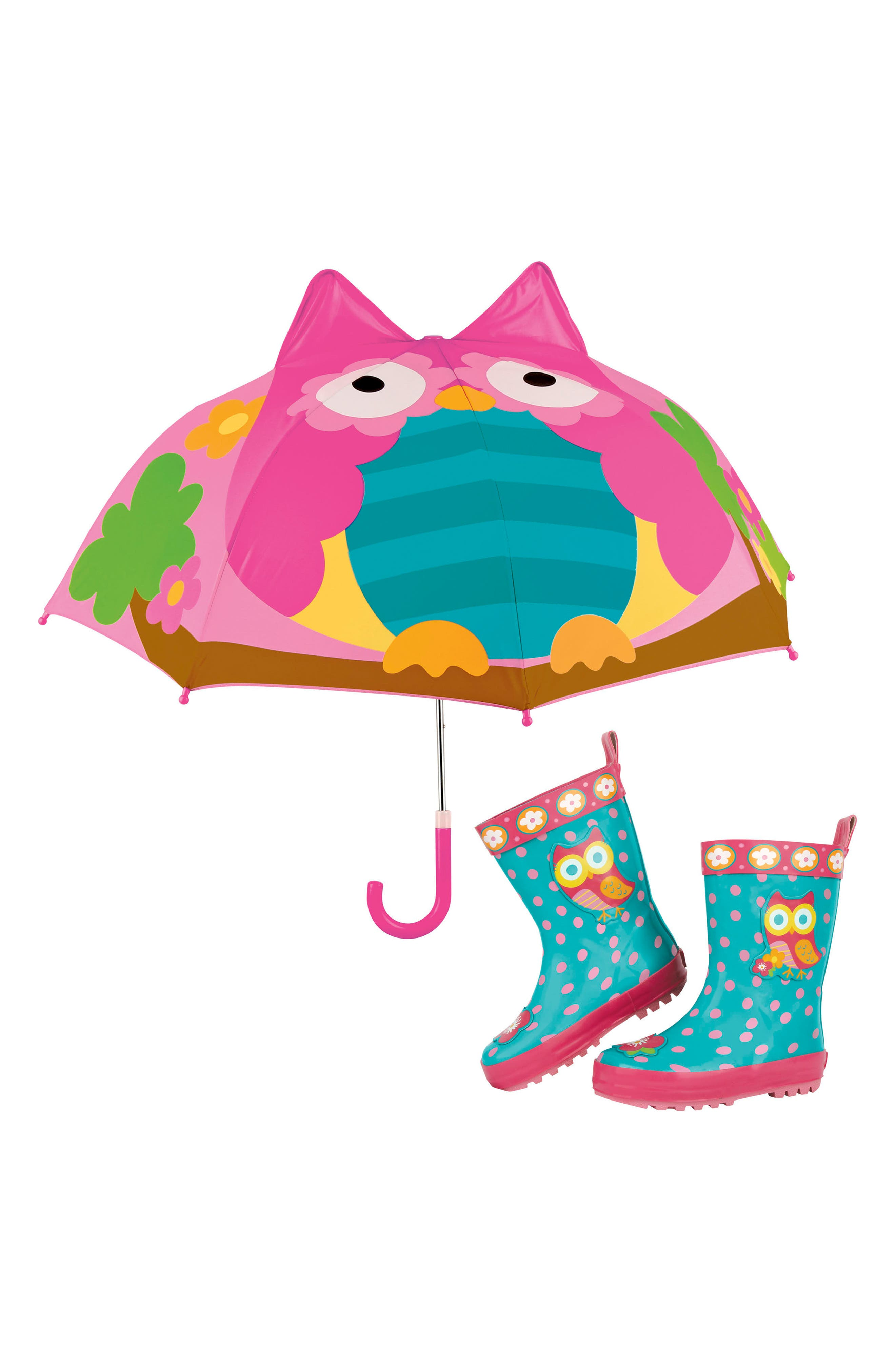 Alternate Image 1 Selected - Stephen Joseph Owl Rain Boots & Umbrella Set (Walker & Toddler)
