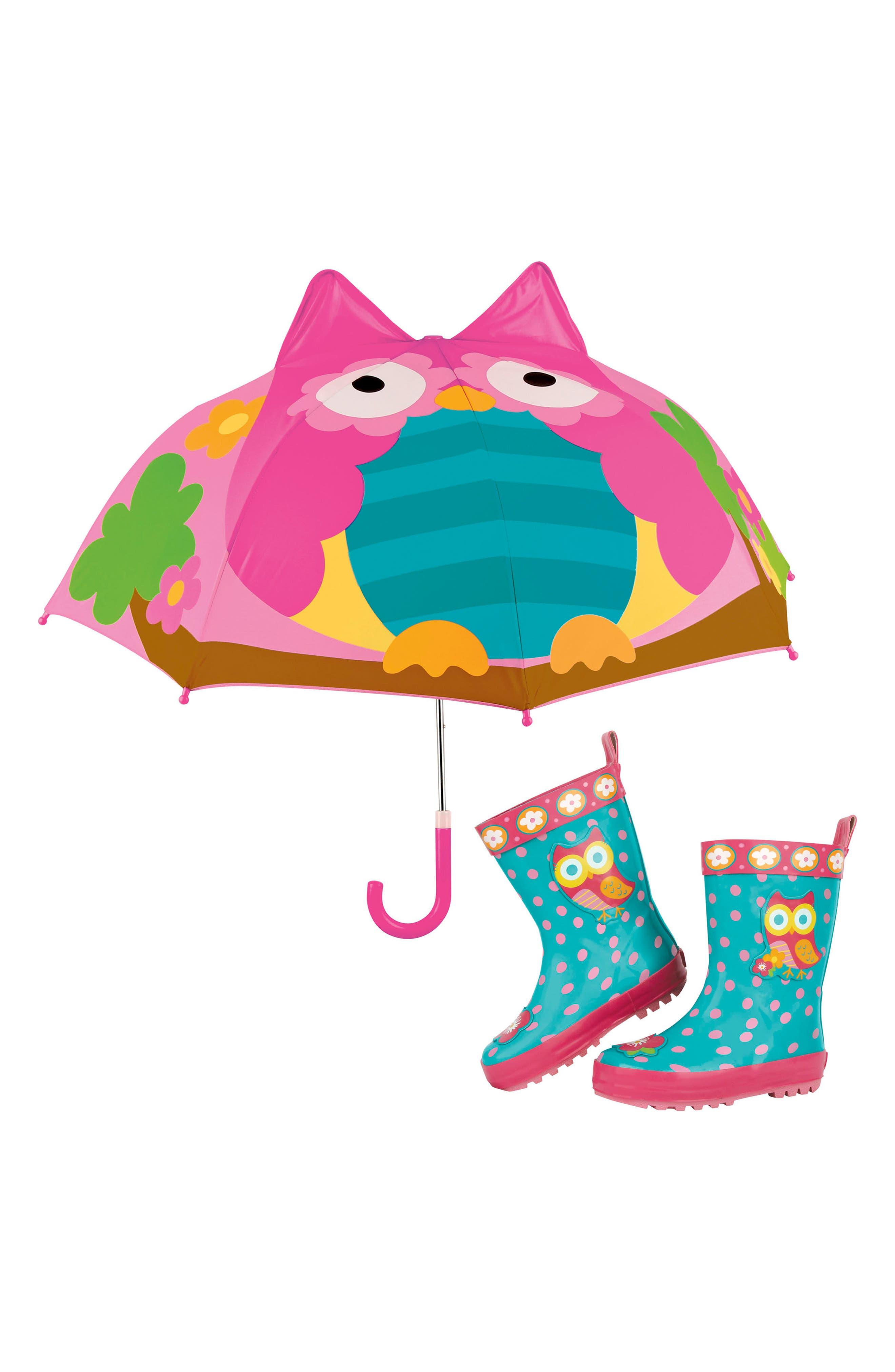 Main Image - Stephen Joseph Owl Rain Boots & Umbrella Set (Walker & Toddler)