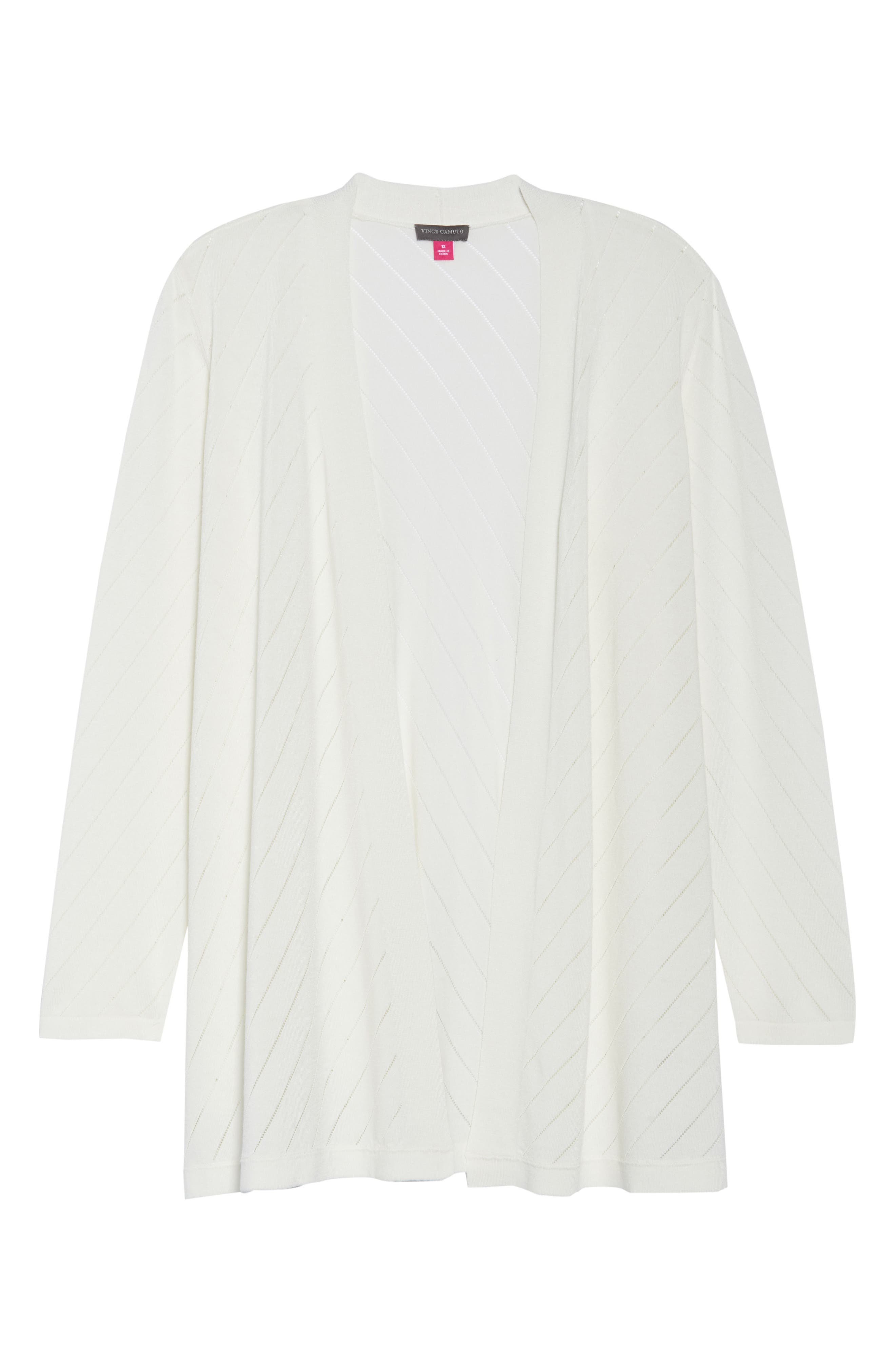 Pointelle Open Front Cardigan,                             Alternate thumbnail 6, color,                             New Ivory