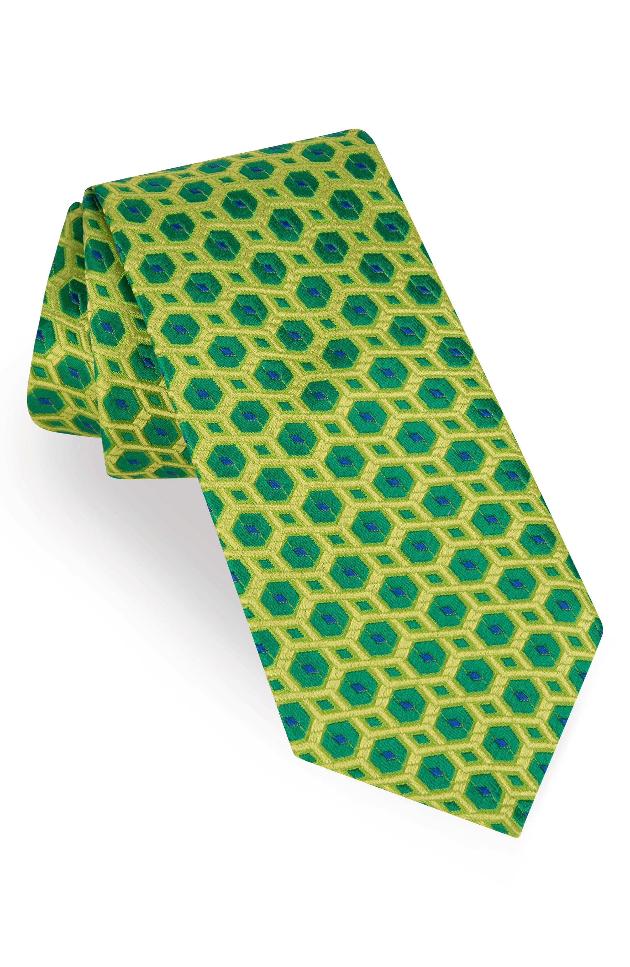 Sextagon Geometric Silk Tie,                         Main,                         color, Green