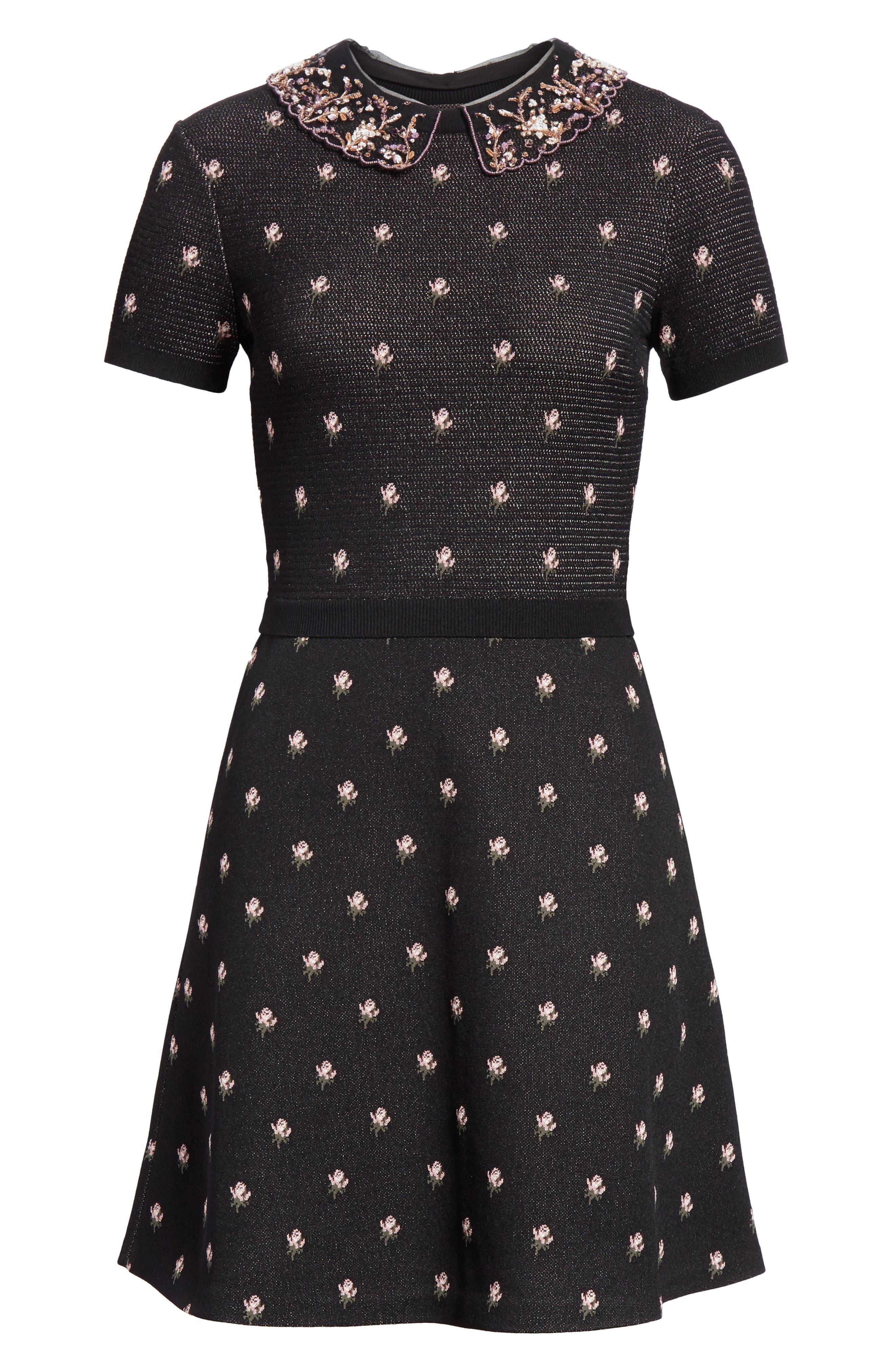 Embellished Collar Floral Jacquard Dress,                             Alternate thumbnail 7, color,                             Black