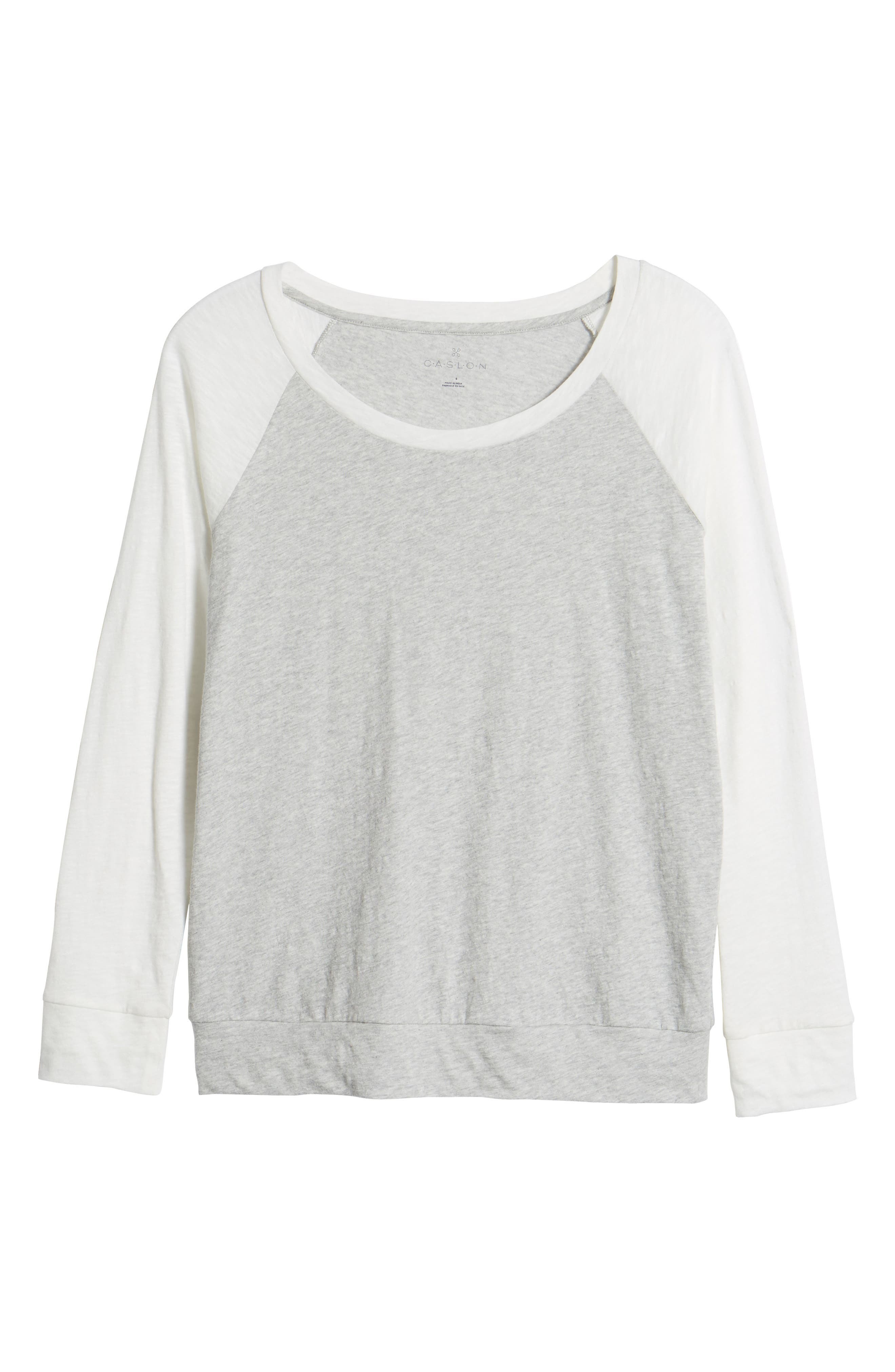 Lightweight Colorblock Cotton Tee,                             Alternate thumbnail 6, color,                             Grey- Ivory