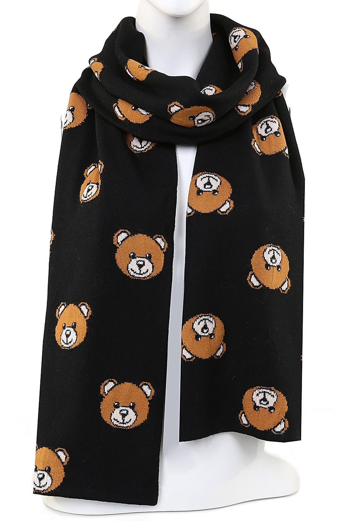 Bear Print Virgin Wool Scarf,                         Main,                         color, Fantasy Print Black