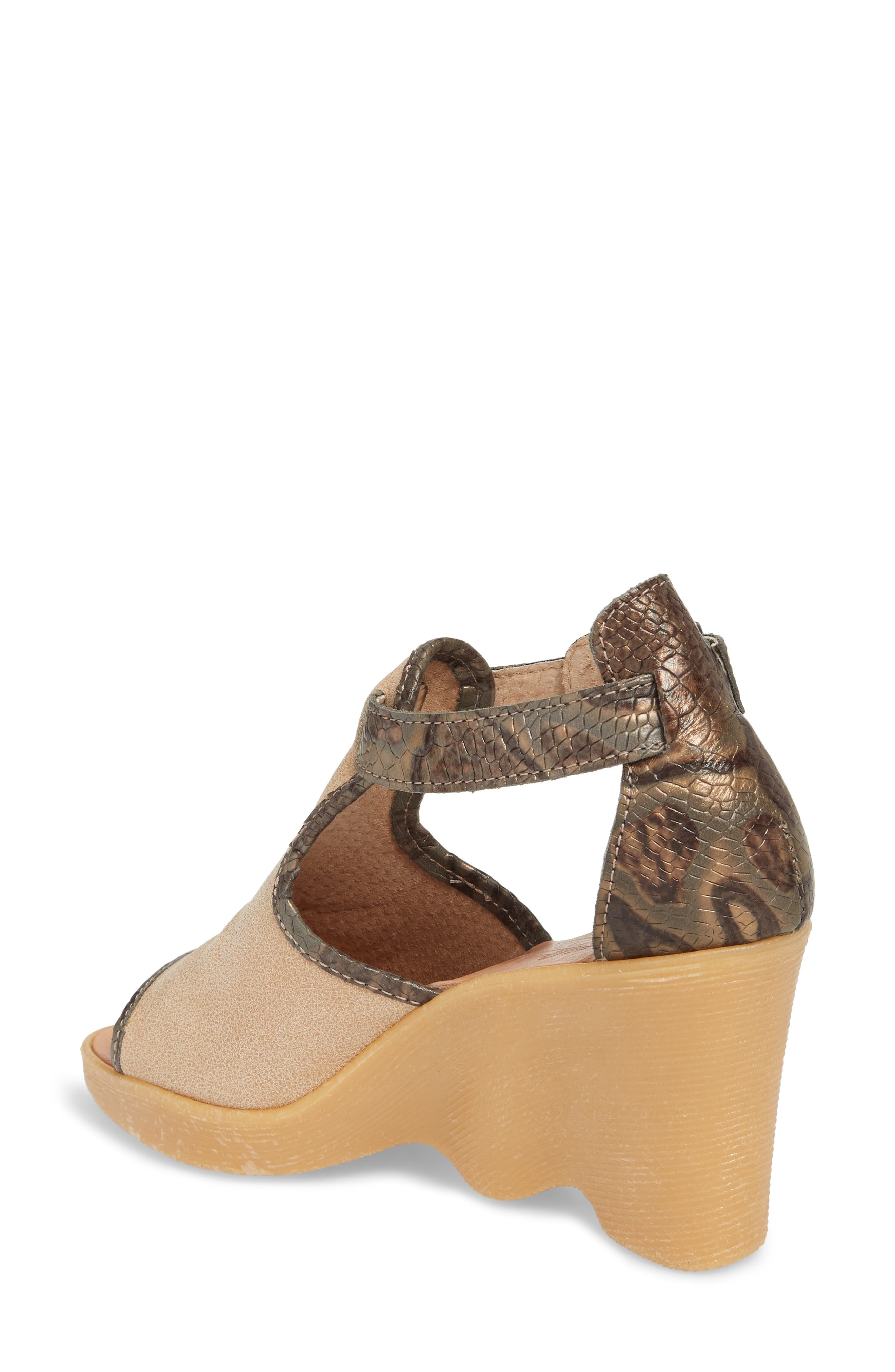 Queen Bee Wedge Sandal,                             Alternate thumbnail 2, color,                             Nude Mix Leather