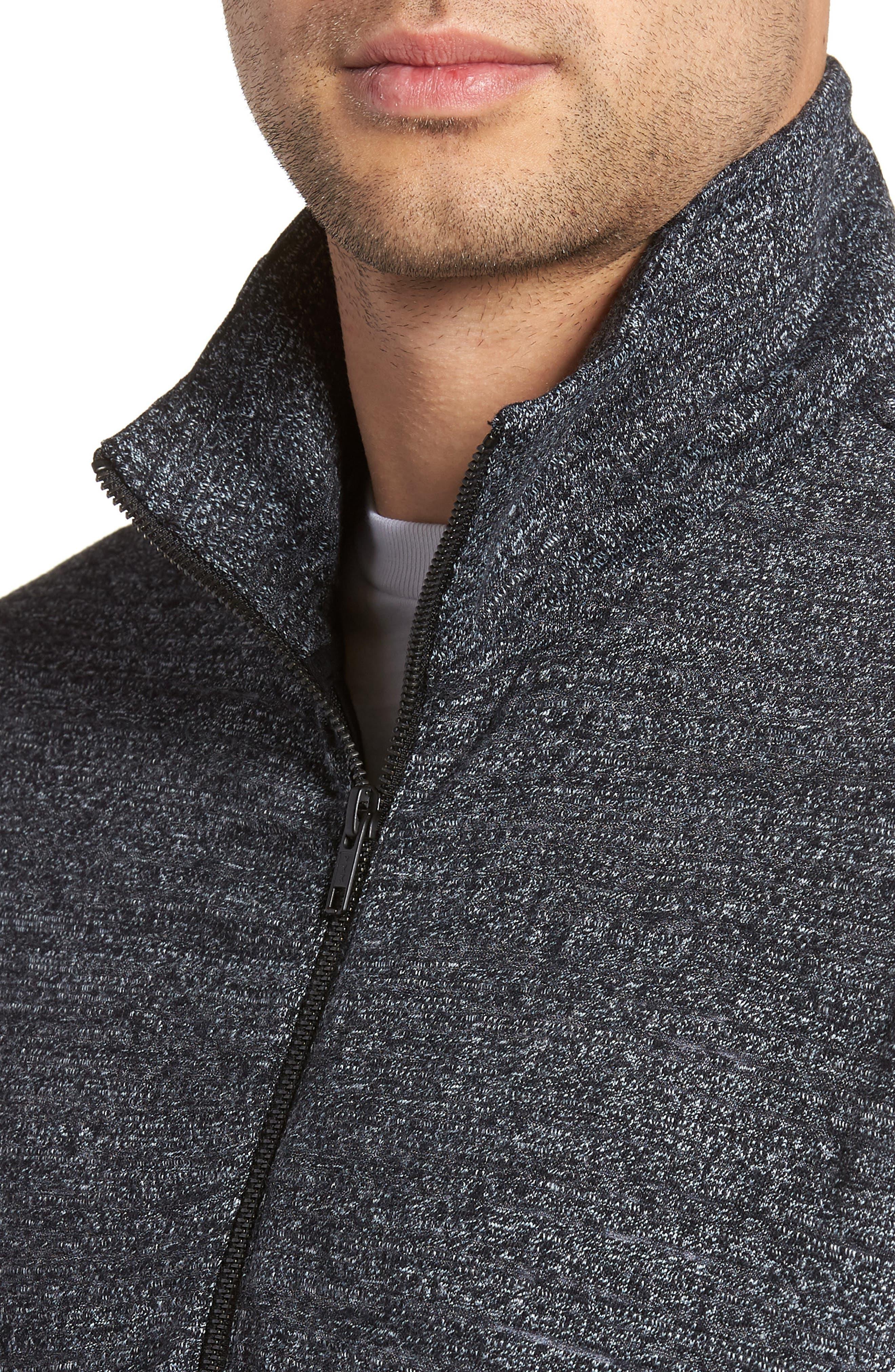 Textured Zip Fleece Sweatshirt,                             Alternate thumbnail 4, color,                             Black Melange
