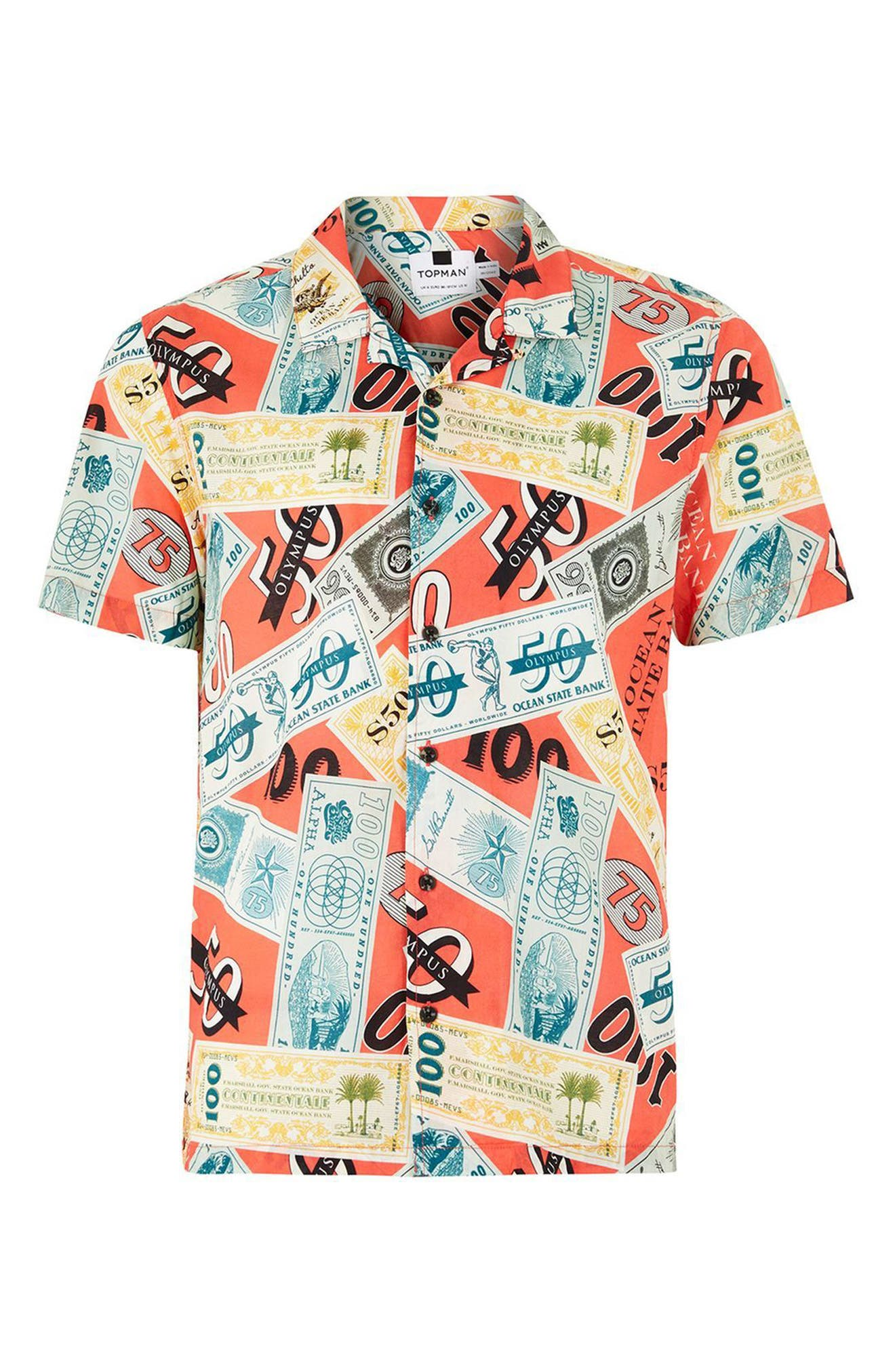 Classic Fit Money Print Woven Shirt,                             Alternate thumbnail 4, color,                             Red Multi