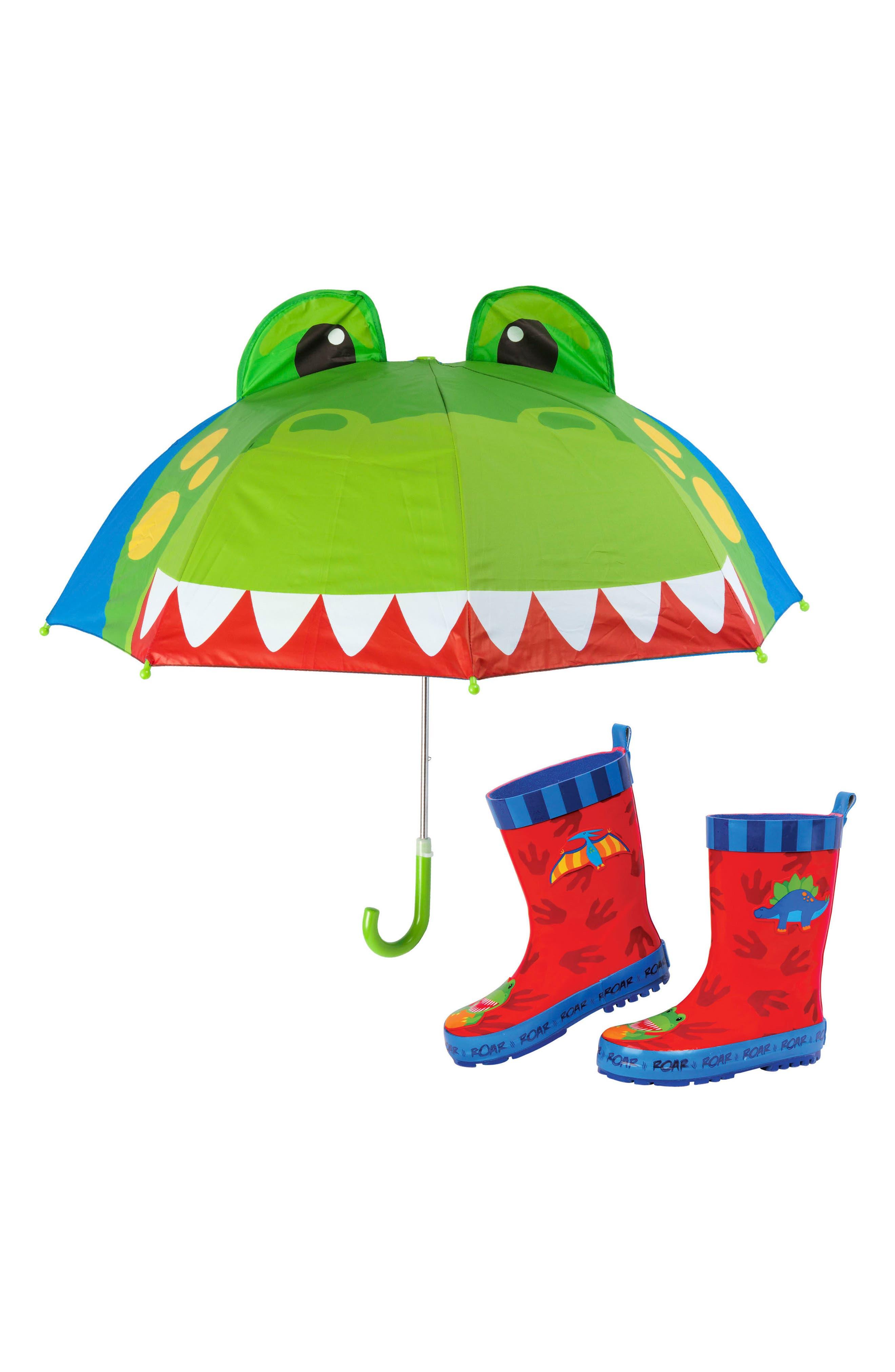 Dinosaur Truck Rain Boots & Umbrella Set,                             Main thumbnail 1, color,                             Dino