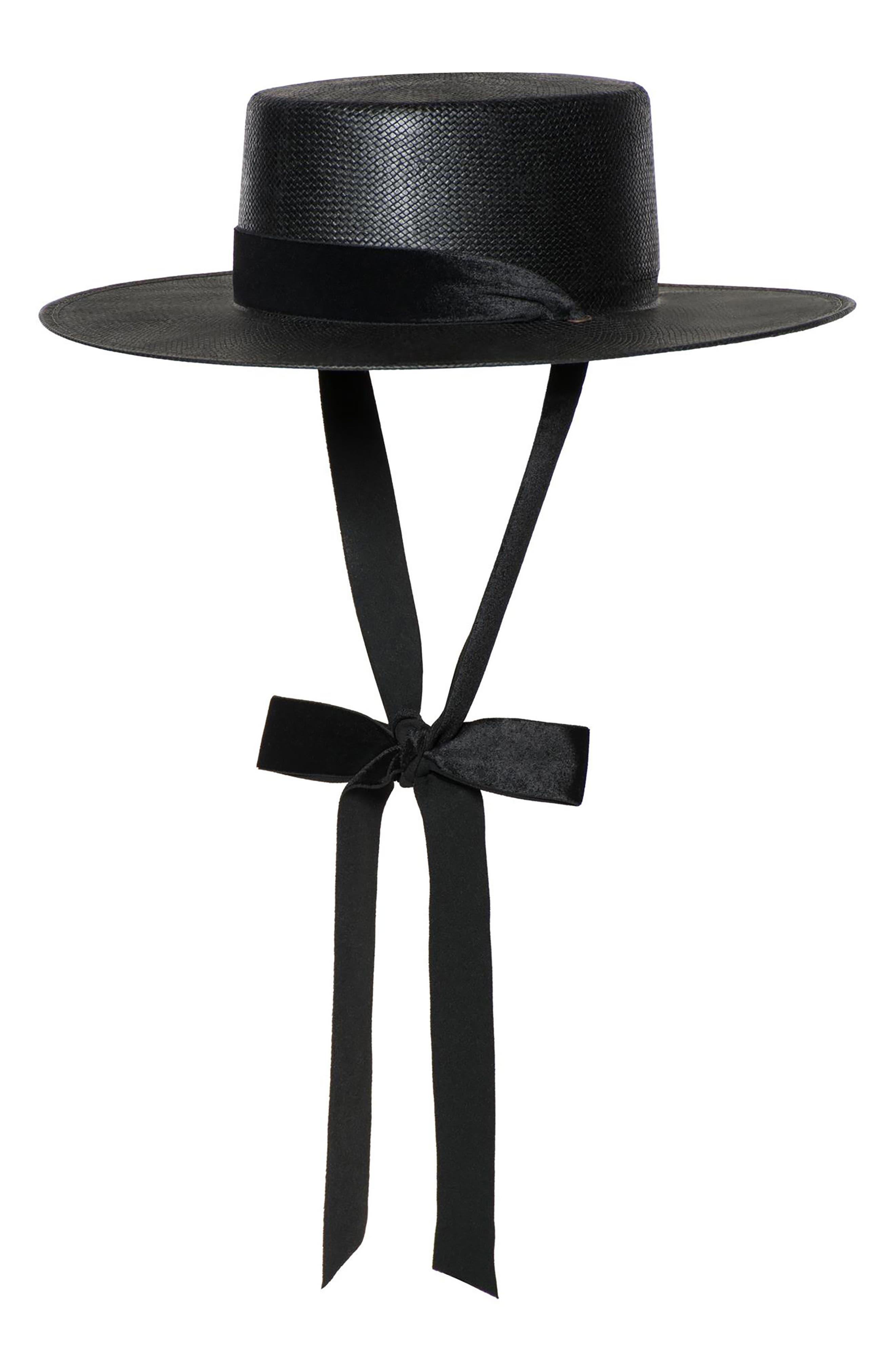 BIJOU VAN NESS THE HEIRESS STRAW BOLERO HAT - BLACK