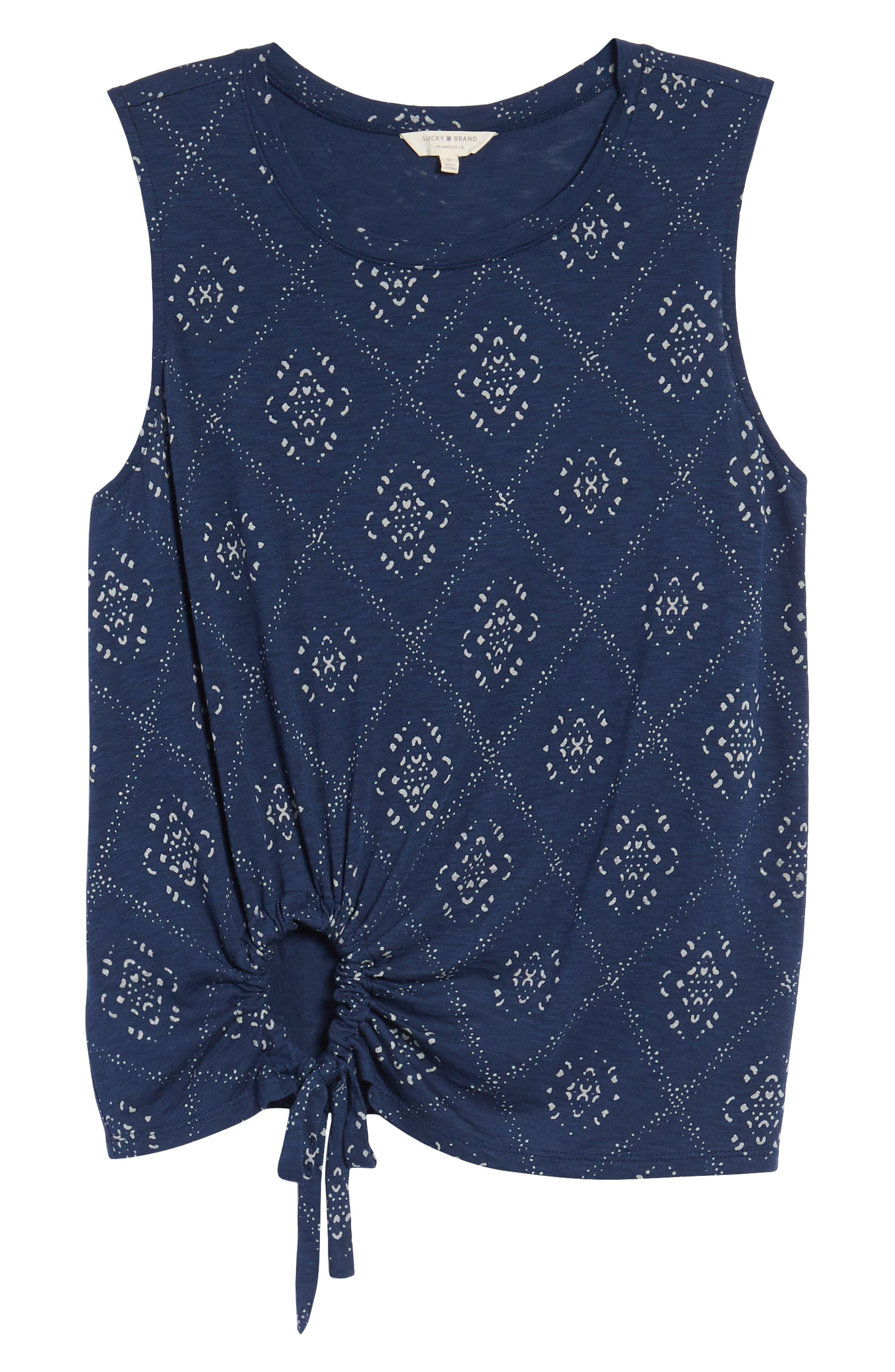 Batik Side Tie Tank,                             Alternate thumbnail 6, color,                             Blue Multi