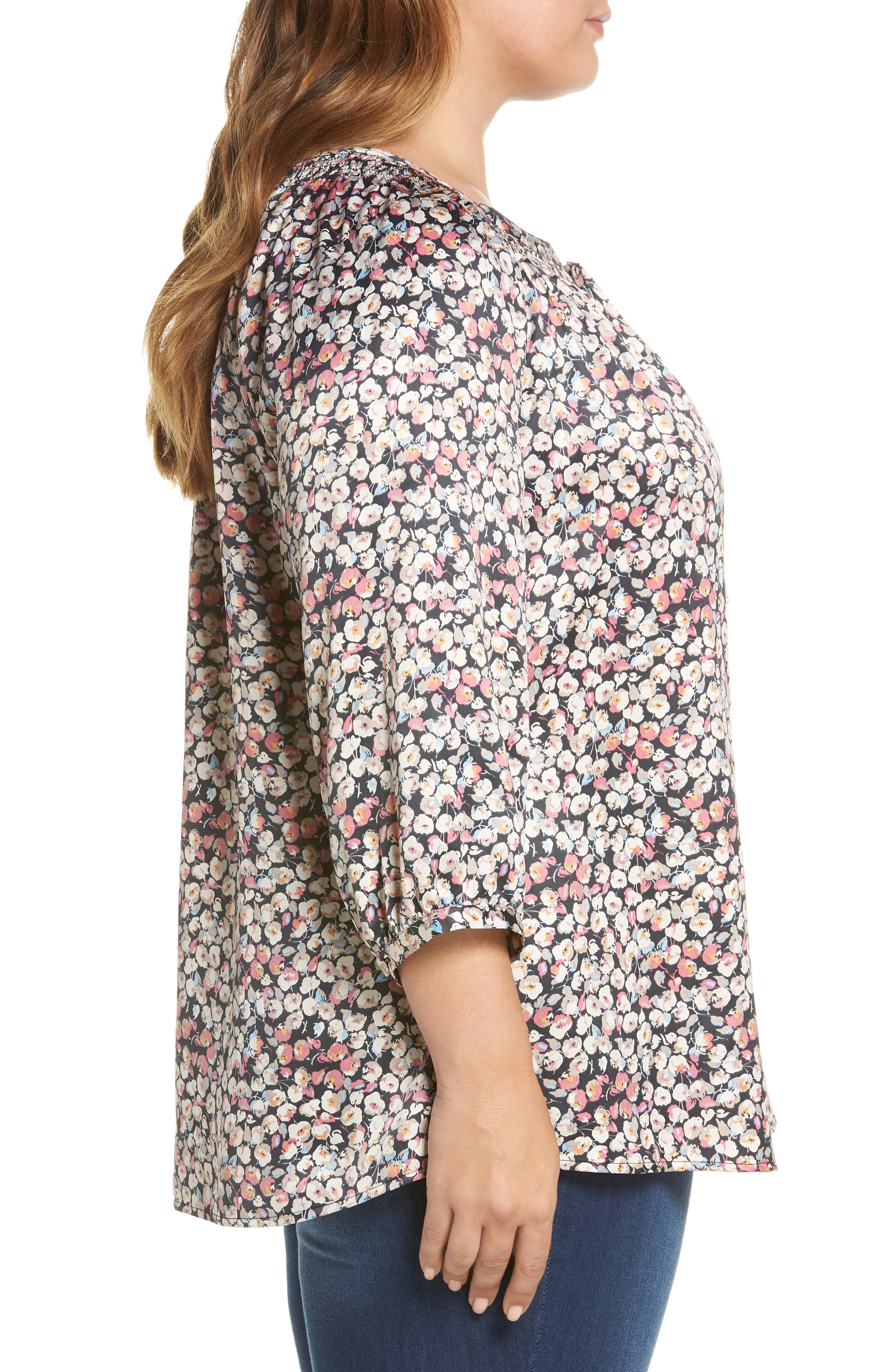 Floral Blouson Sleeve Blouse,                             Alternate thumbnail 3, color,                             B244n Mauve