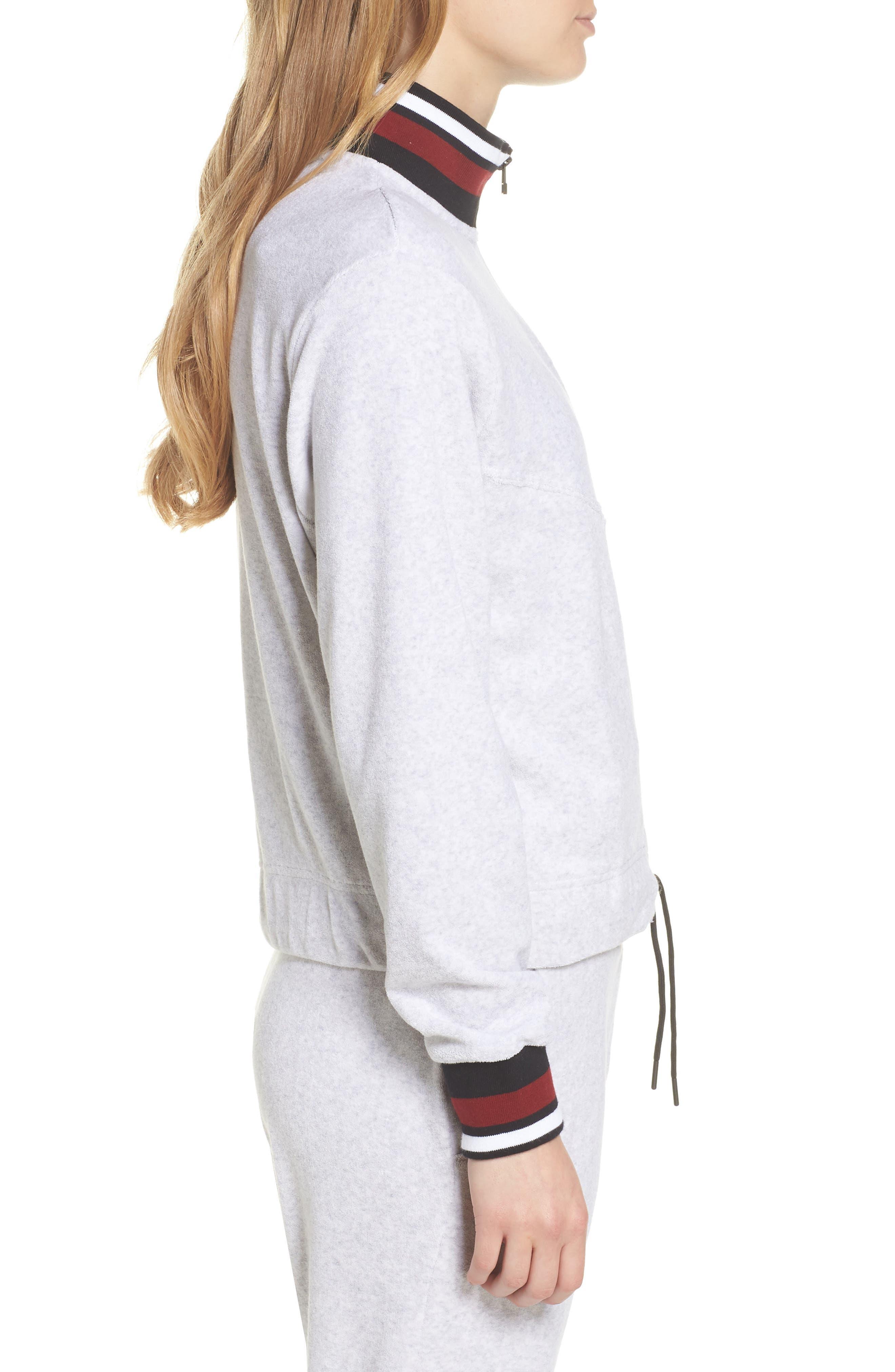 Sportswear French Terry Jacket,                             Alternate thumbnail 3, color,                             Birch Heather/ White/ Black