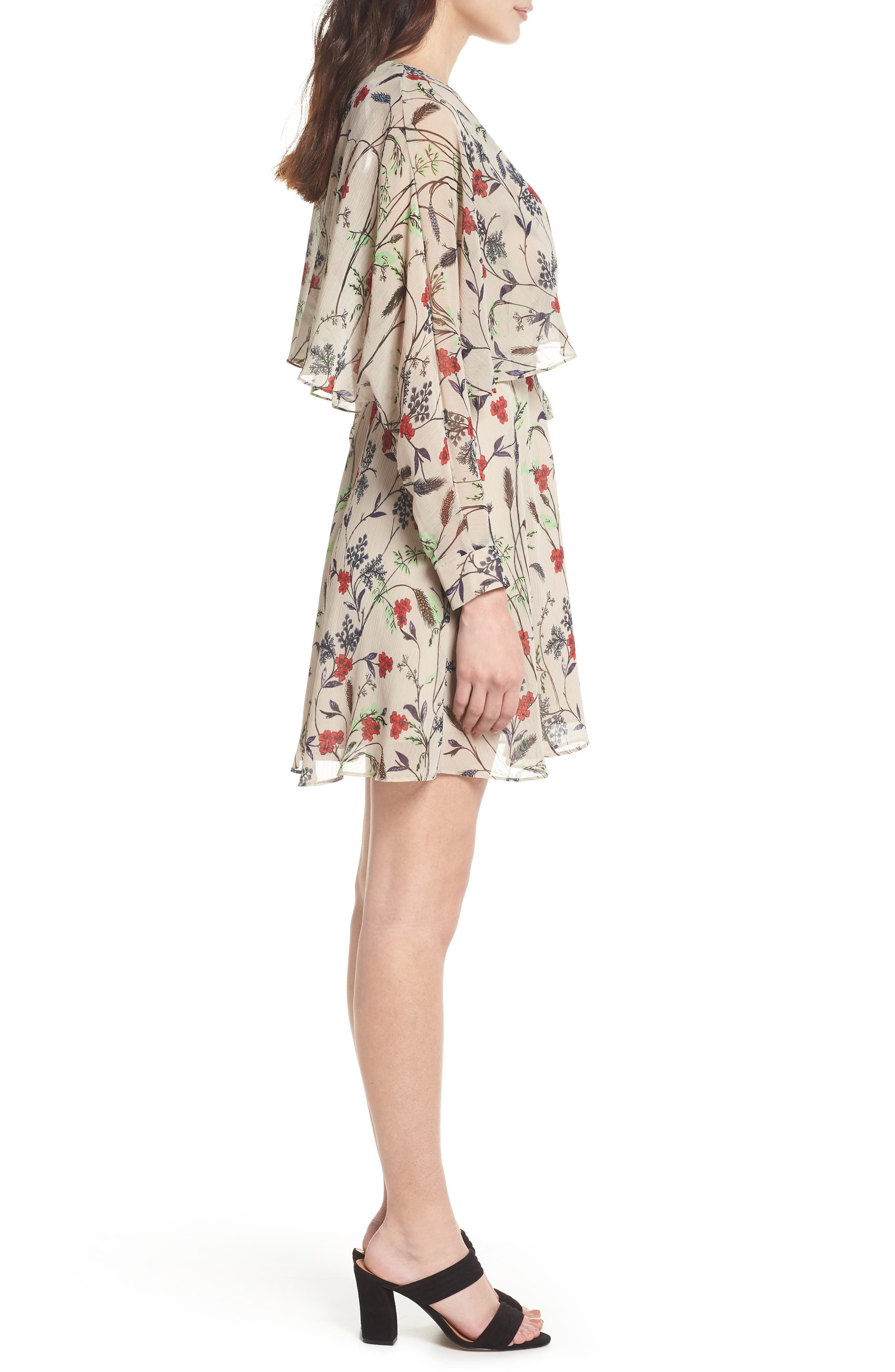 Yoryu Floral Chiffon Dress,                             Alternate thumbnail 3, color,                             Beige/ Red
