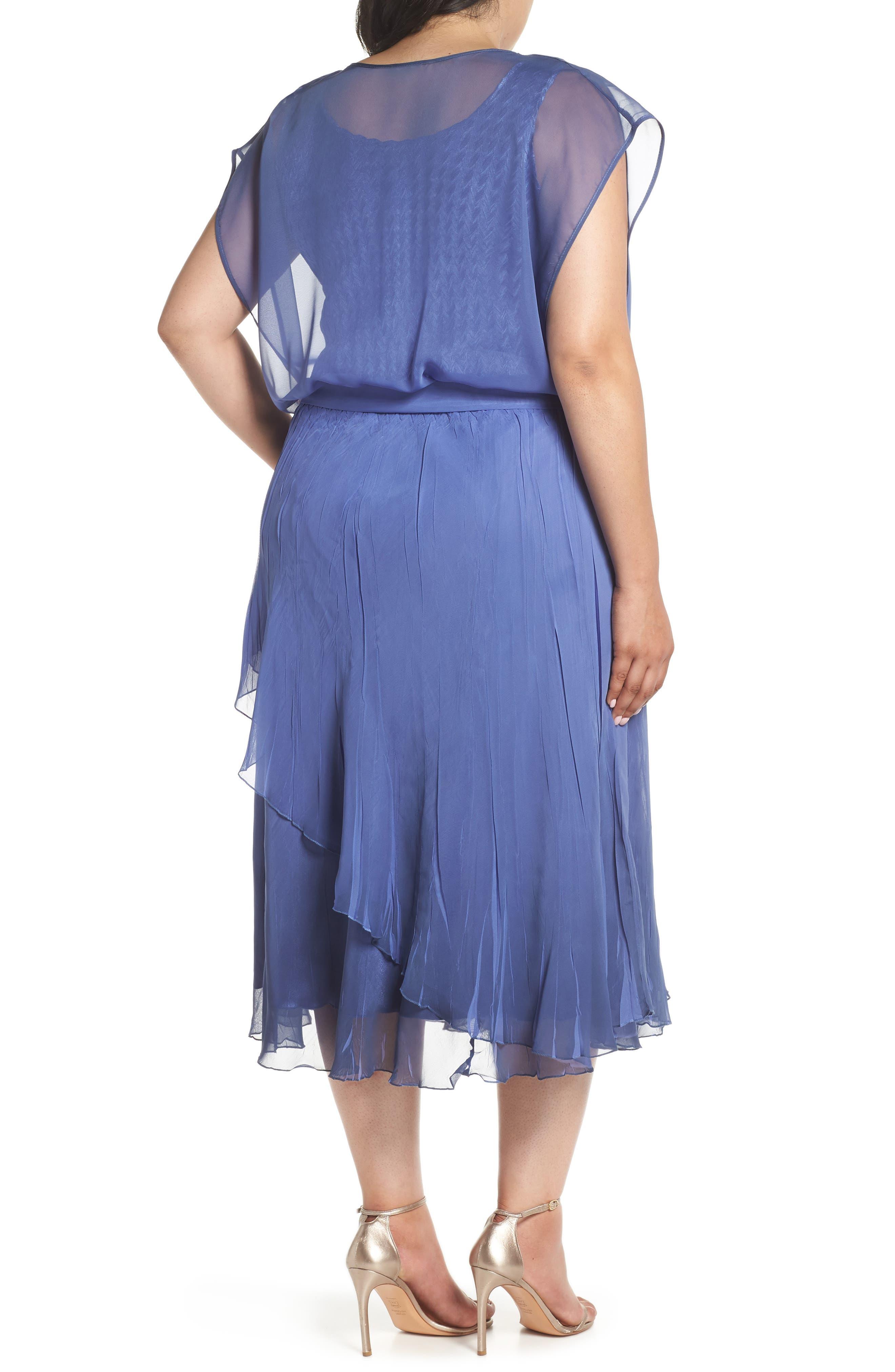 Charmeuse & Chiffon Blouson Dress,                             Alternate thumbnail 2, color,                             Fregatta Blue Ombre