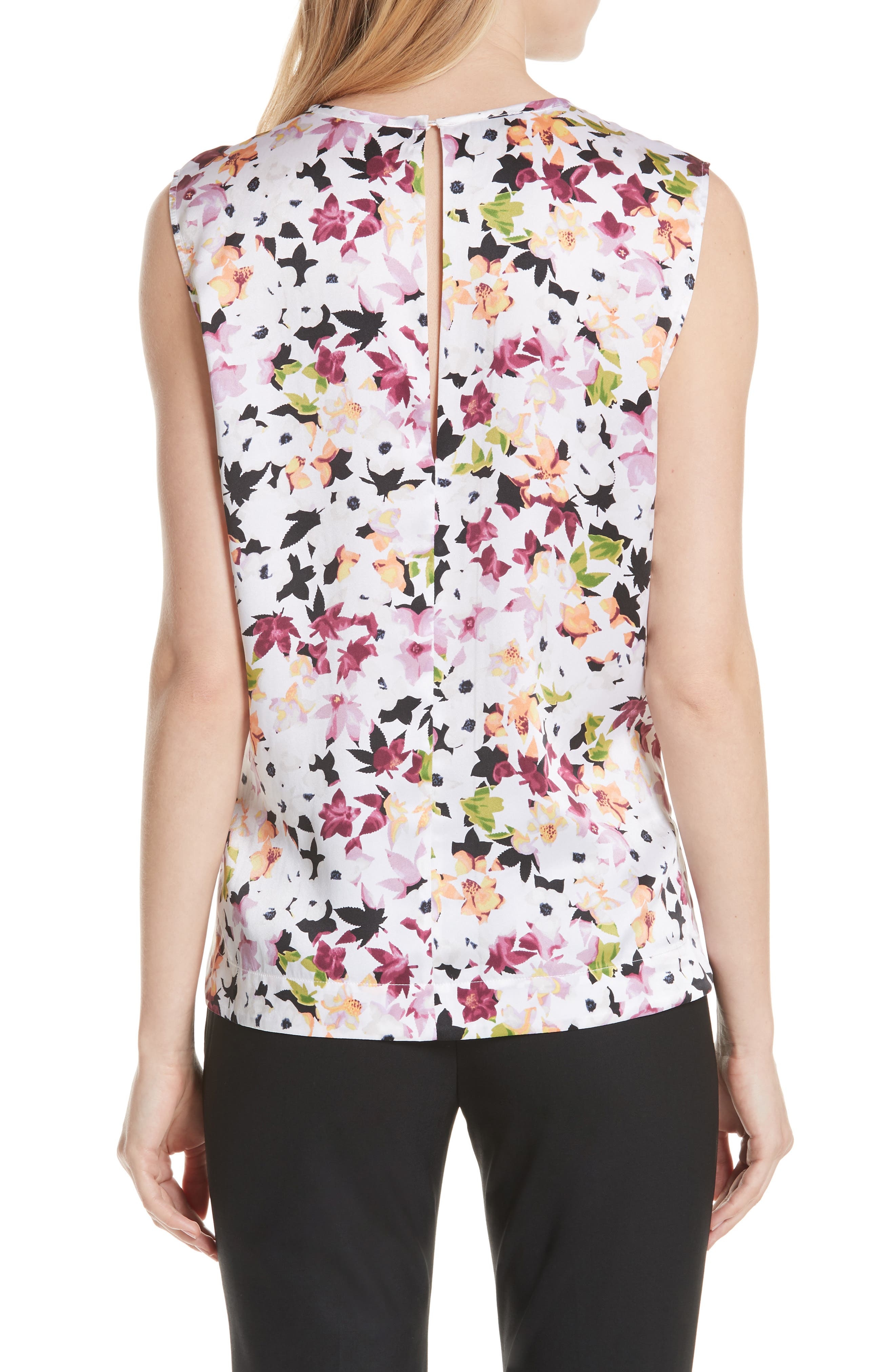 Layla Floral Silk Top,                             Alternate thumbnail 2, color,                             Bright White Multi