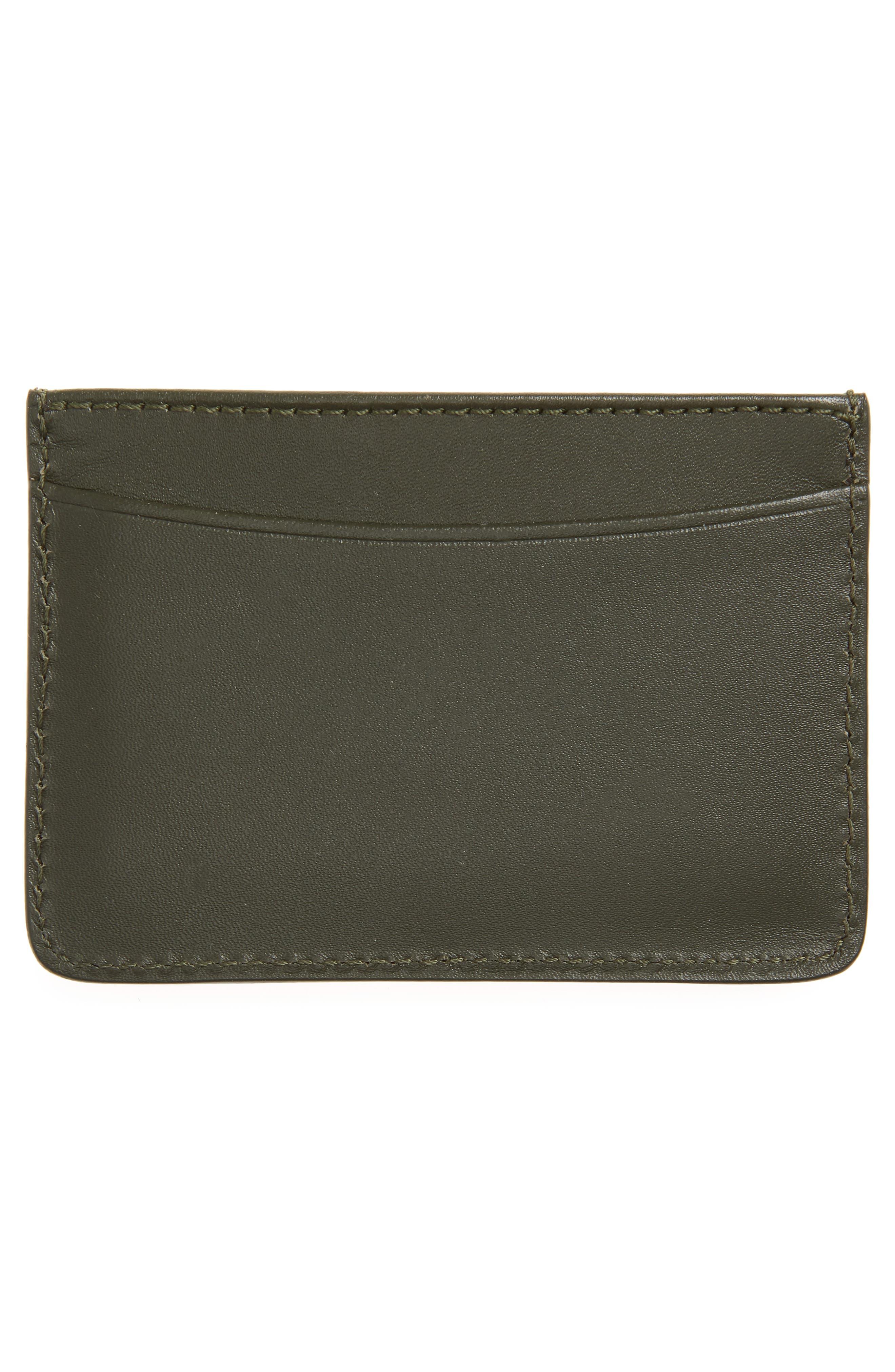 Andre Leather Card Case,                             Alternate thumbnail 2, color,                             Khaki
