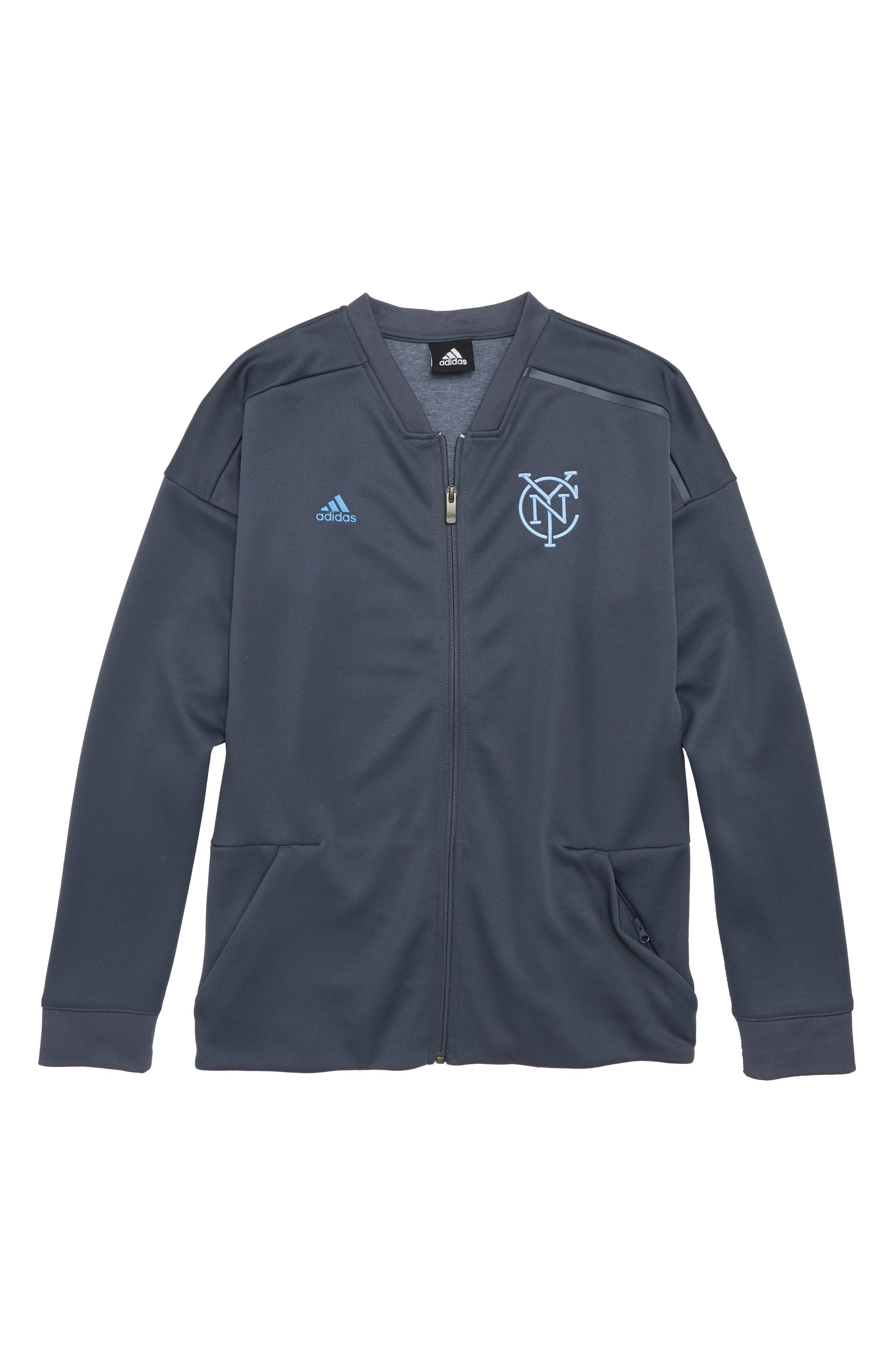 adidas MLS New York City FC Anthem Full Zip Jacket (Big Boys)