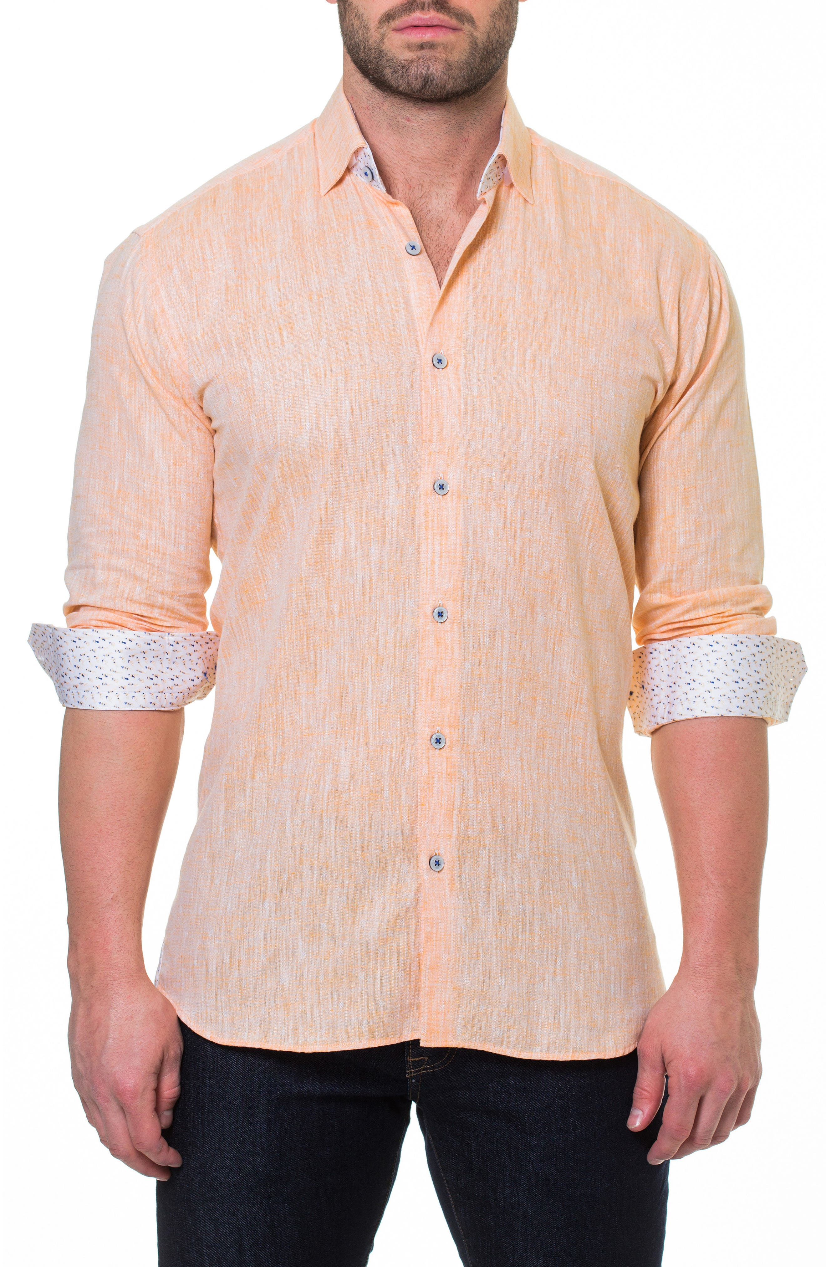 Luxor Lino Slim Fit Sport Shirt,                             Main thumbnail 1, color,                             Orange