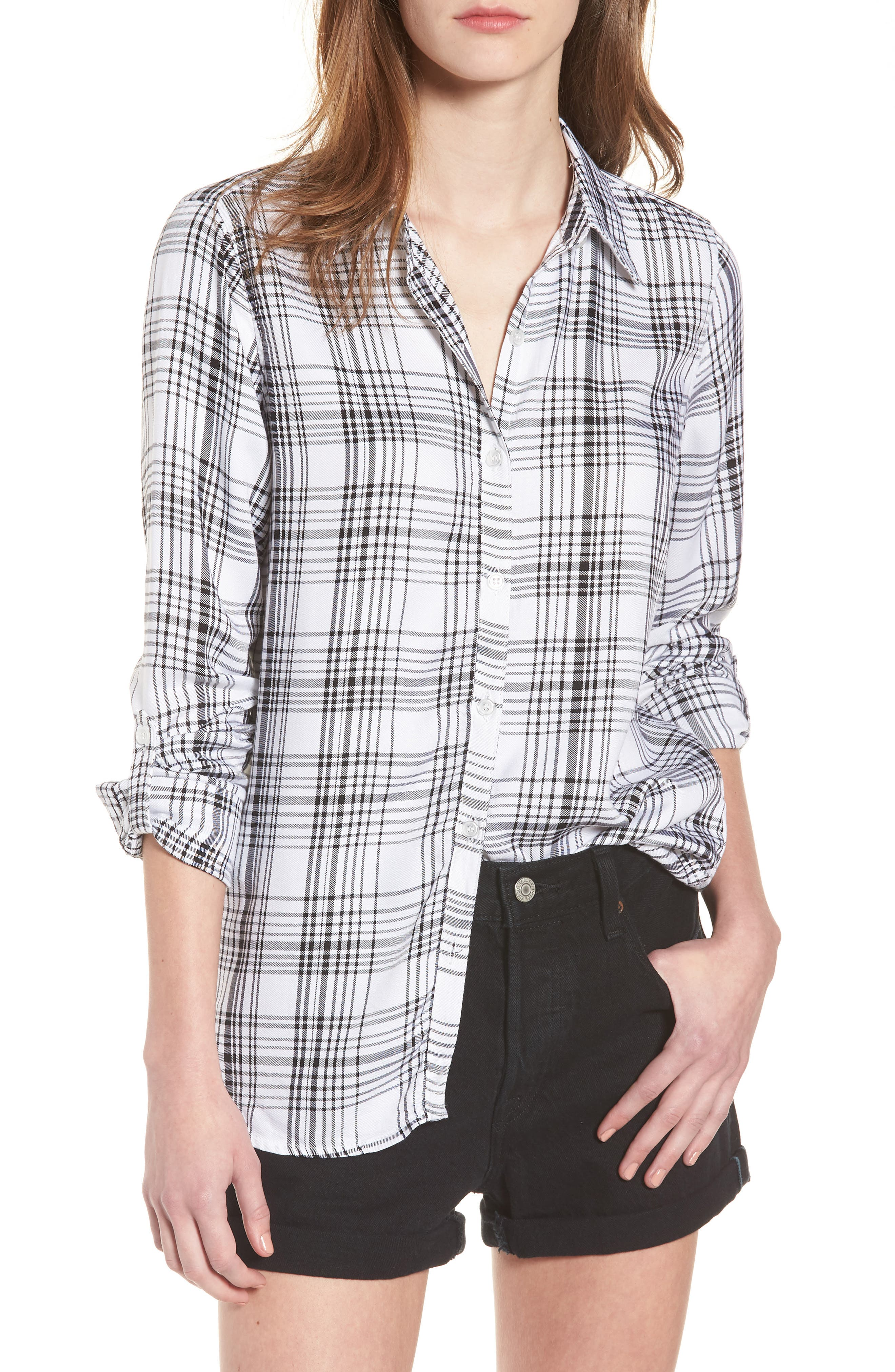 Roll-Tab Shirt,                             Main thumbnail 1, color,                             Black White Plaid