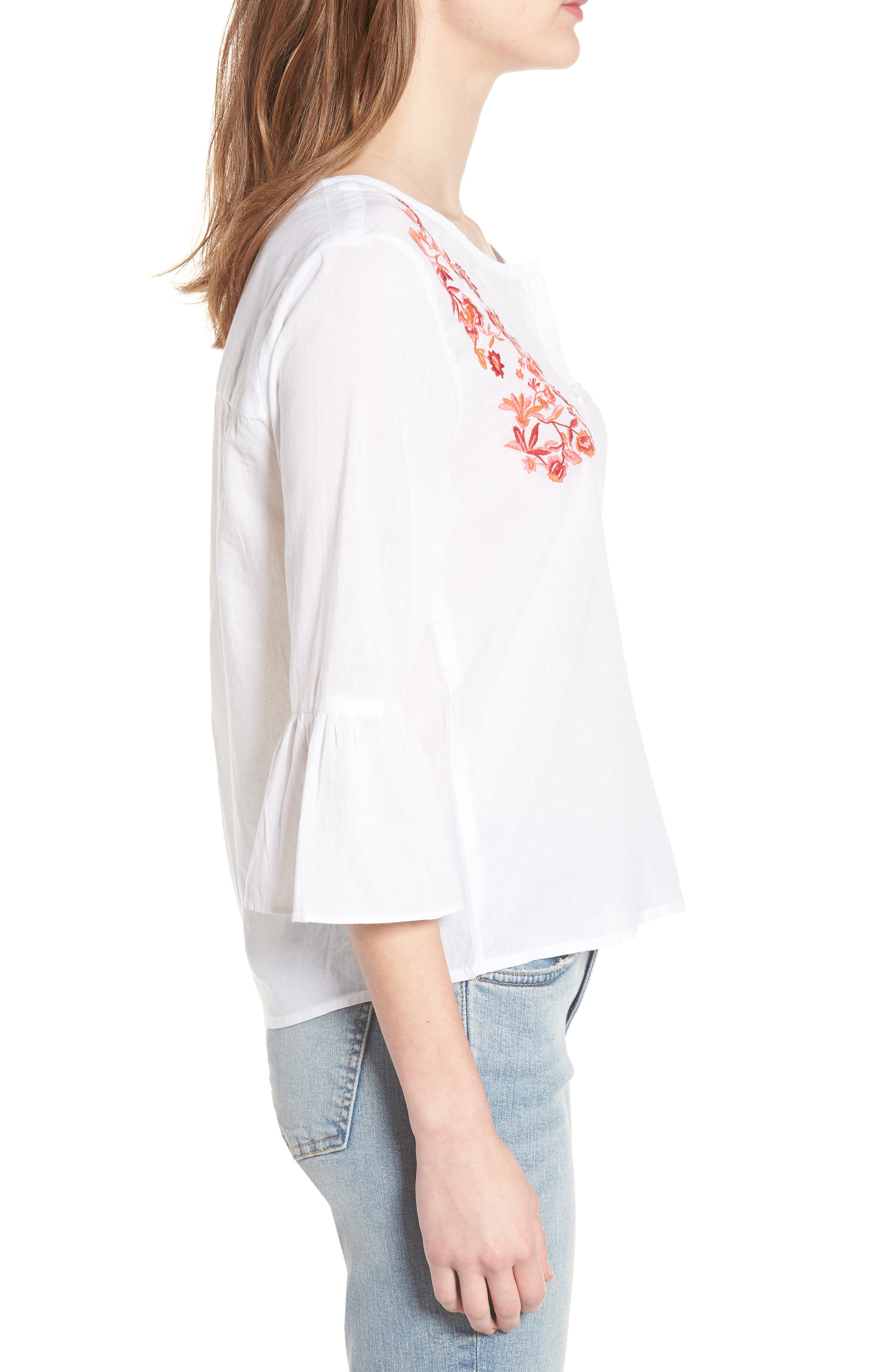 Embroidered Trumpet Sleeve Blouse,                             Alternate thumbnail 3, color,                             White