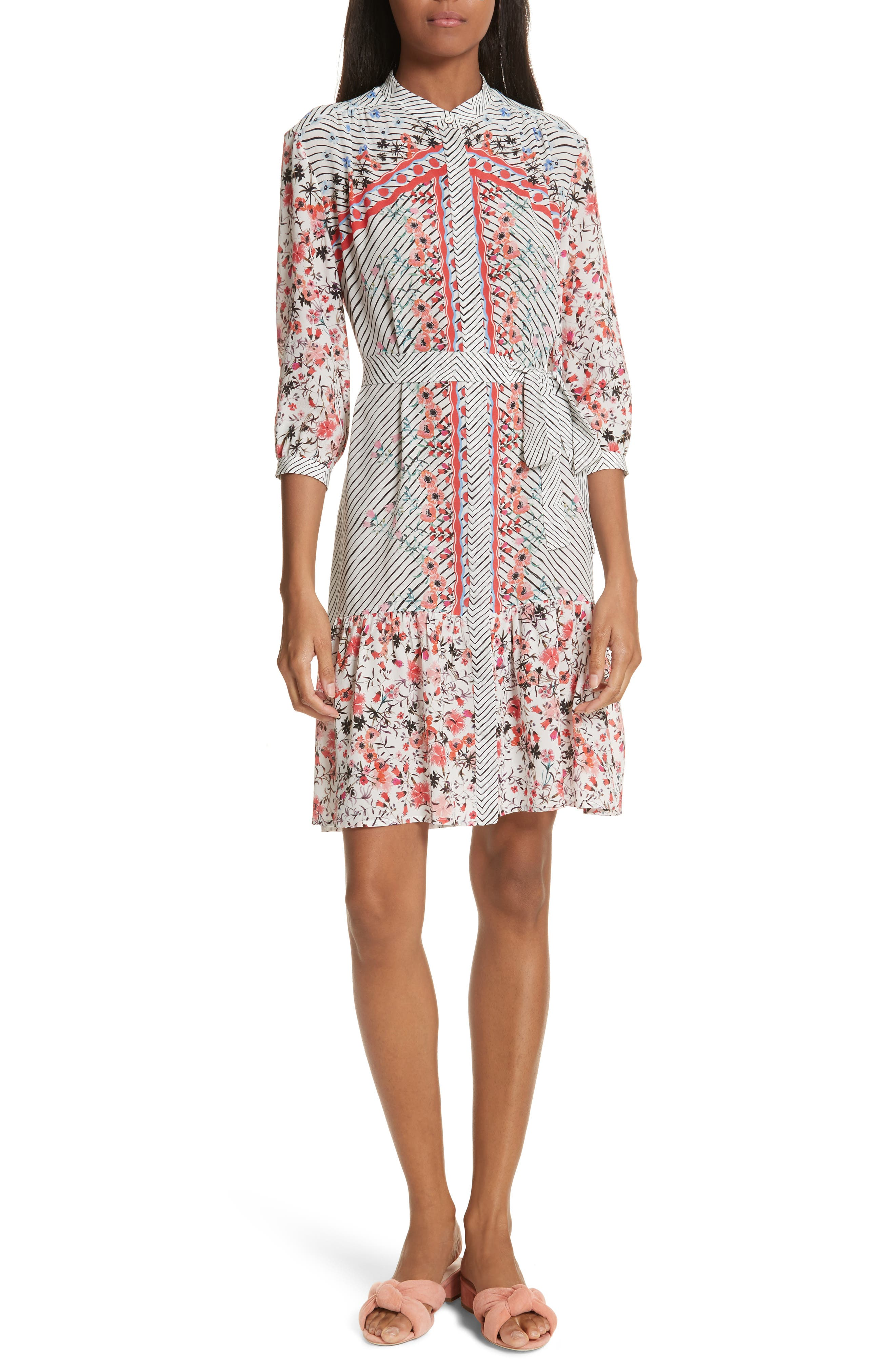 Tyra Print Silk Fit & Flare Dress,                         Main,                         color, Peach Lace