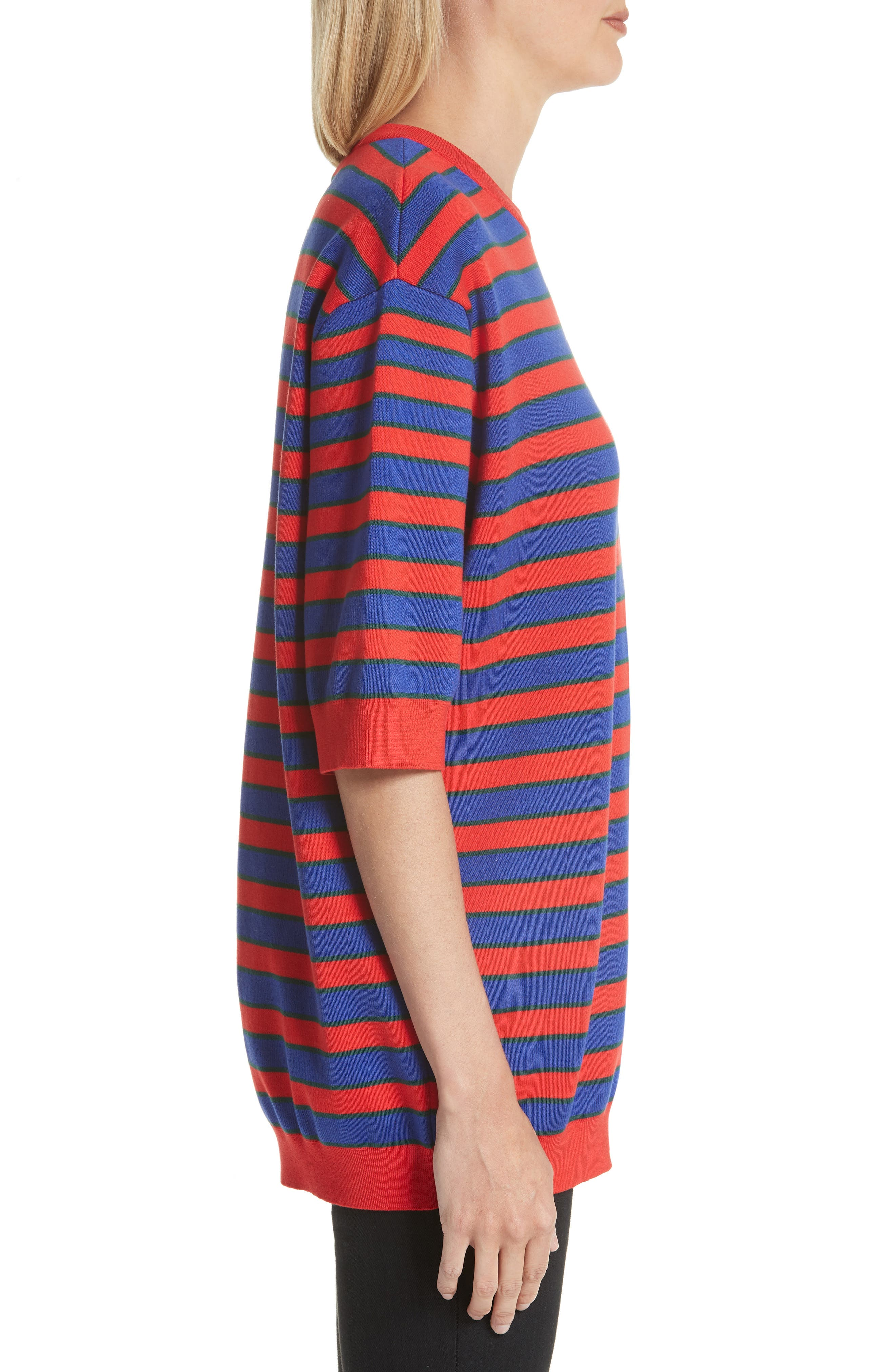 Short Sleeve Stripe Sweater,                             Alternate thumbnail 3, color,                             Red/ Blue