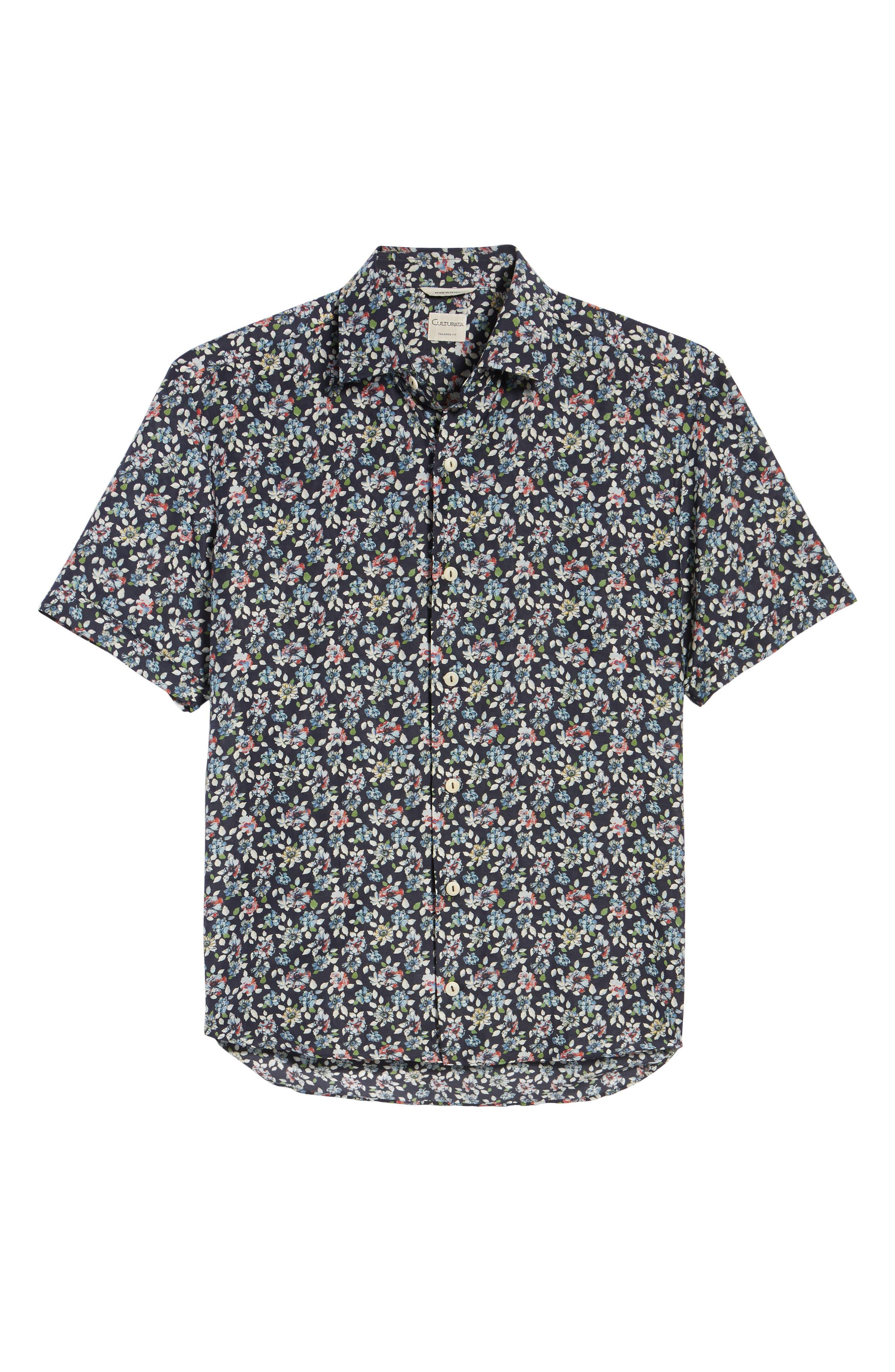 Trim Fit Print Cotton & Silk Sport Shirt,                             Alternate thumbnail 6, color,                             Navy