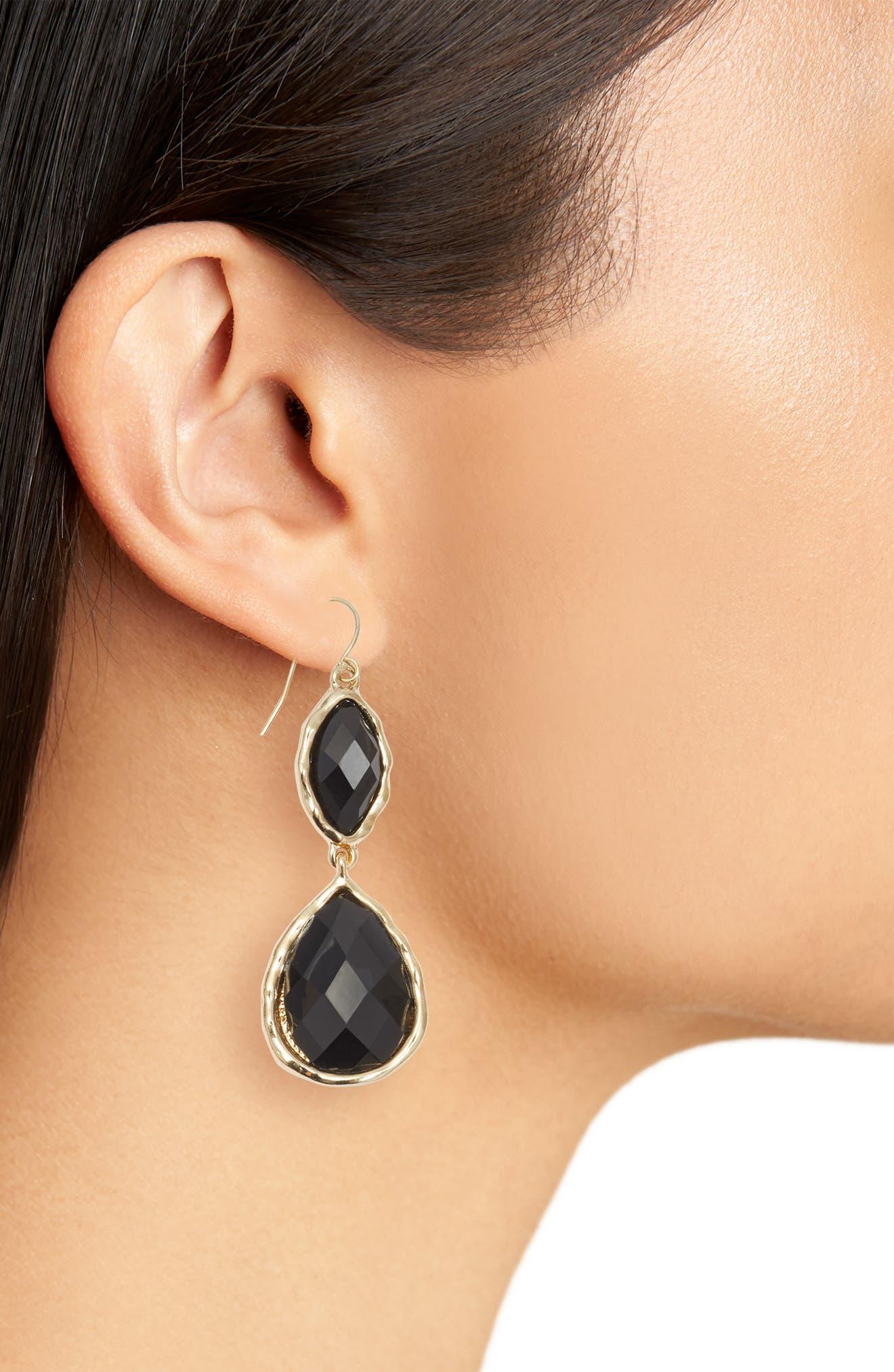 Stone Drop Earrings,                             Alternate thumbnail 2, color,                             Black