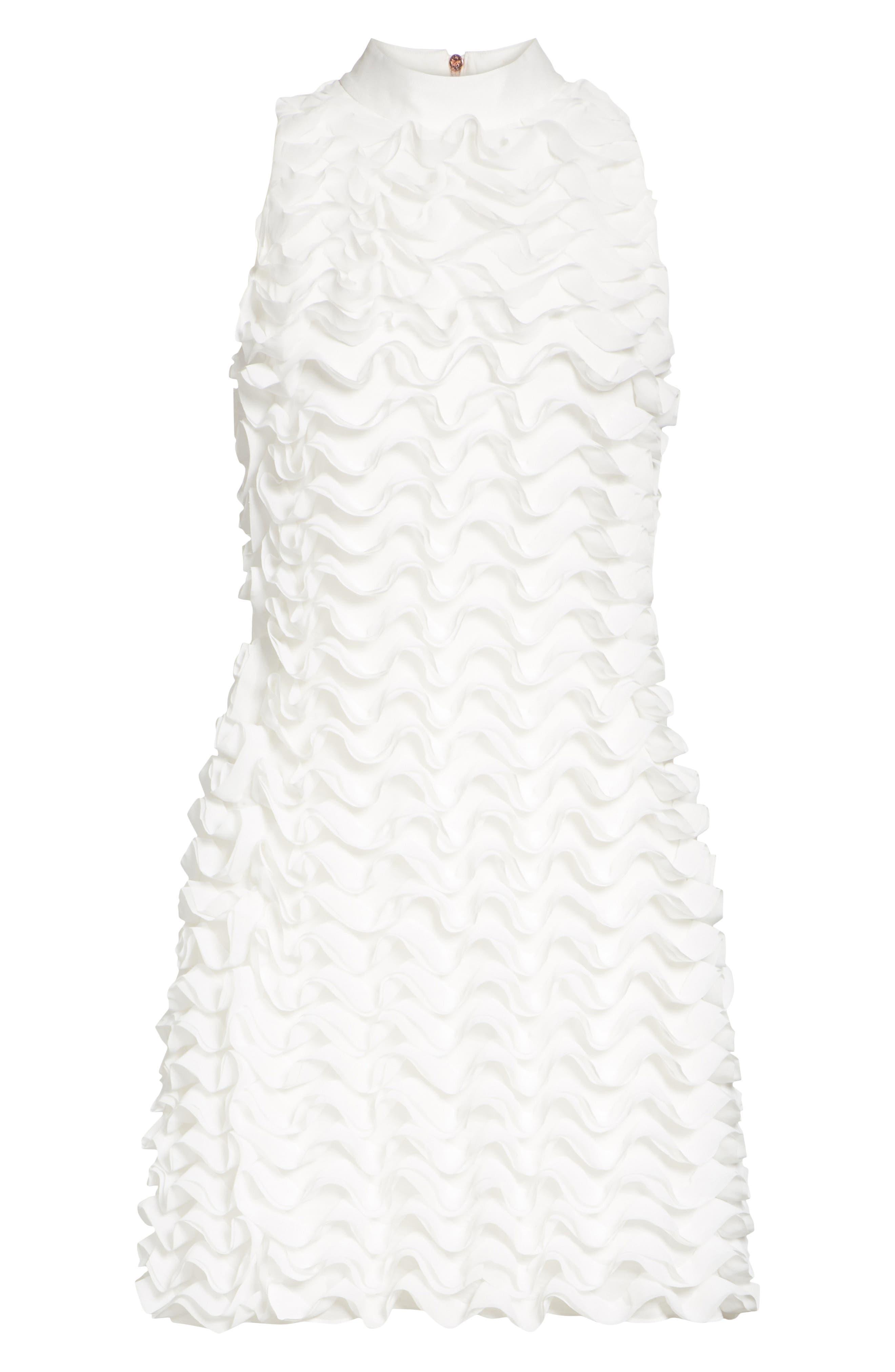 Ruffled Tunic Dress,                             Alternate thumbnail 6, color,                             White
