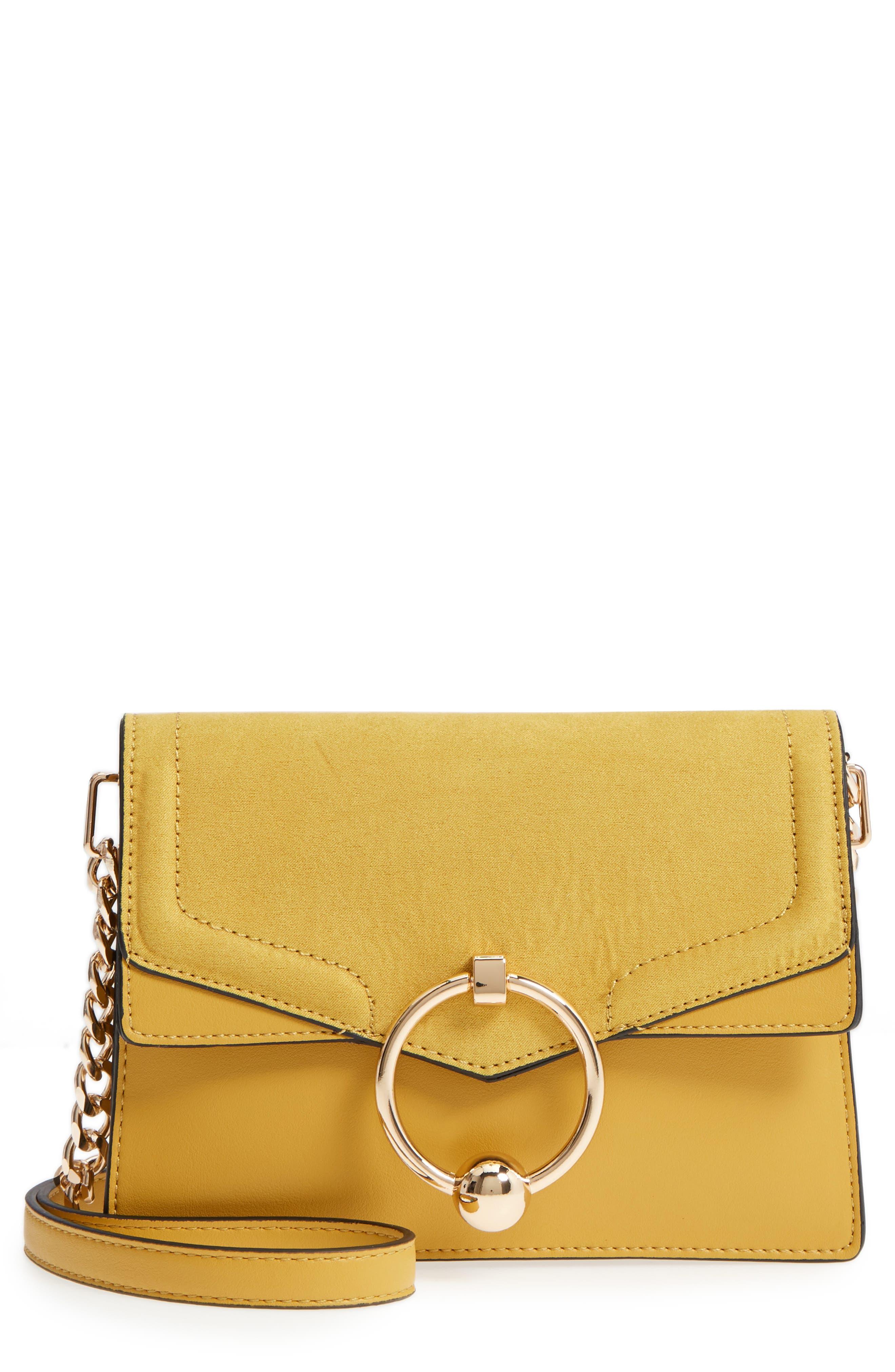 Seline Faux Leather Crossbody Bag,                             Main thumbnail 1, color,                             Yellow Multi