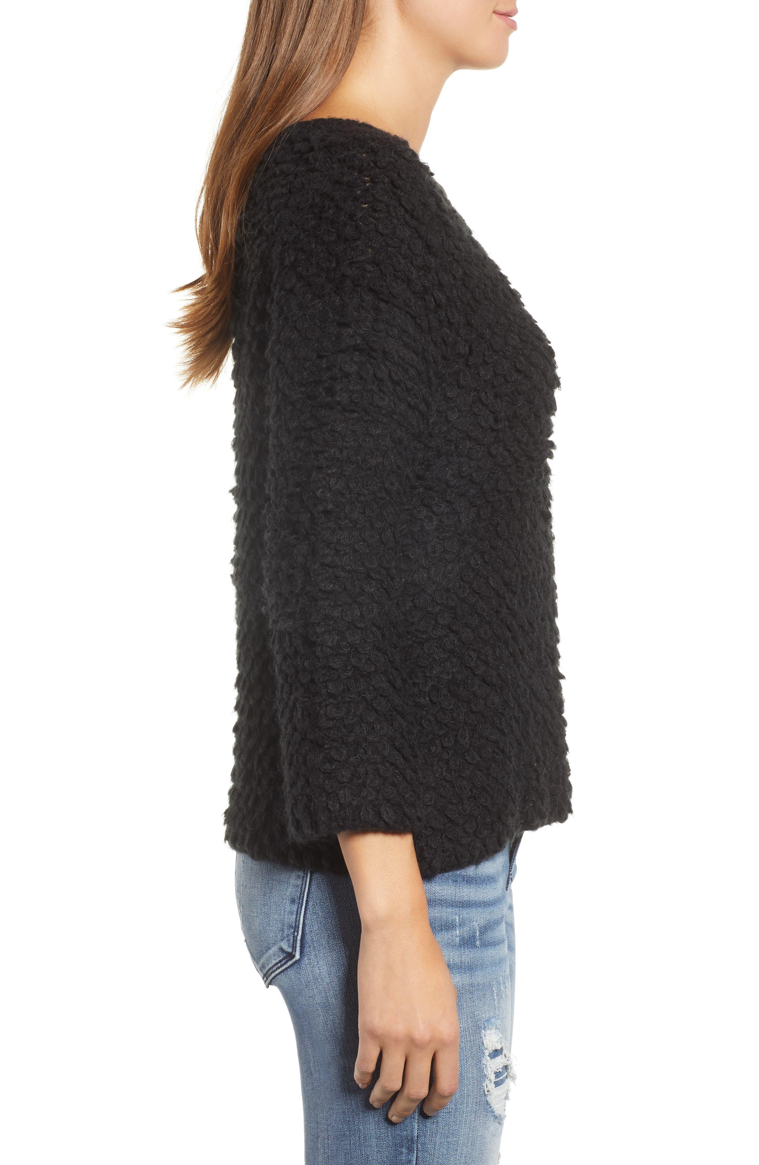 Loop Stitch Crewneck Sweater,                             Alternate thumbnail 3, color,                             Black