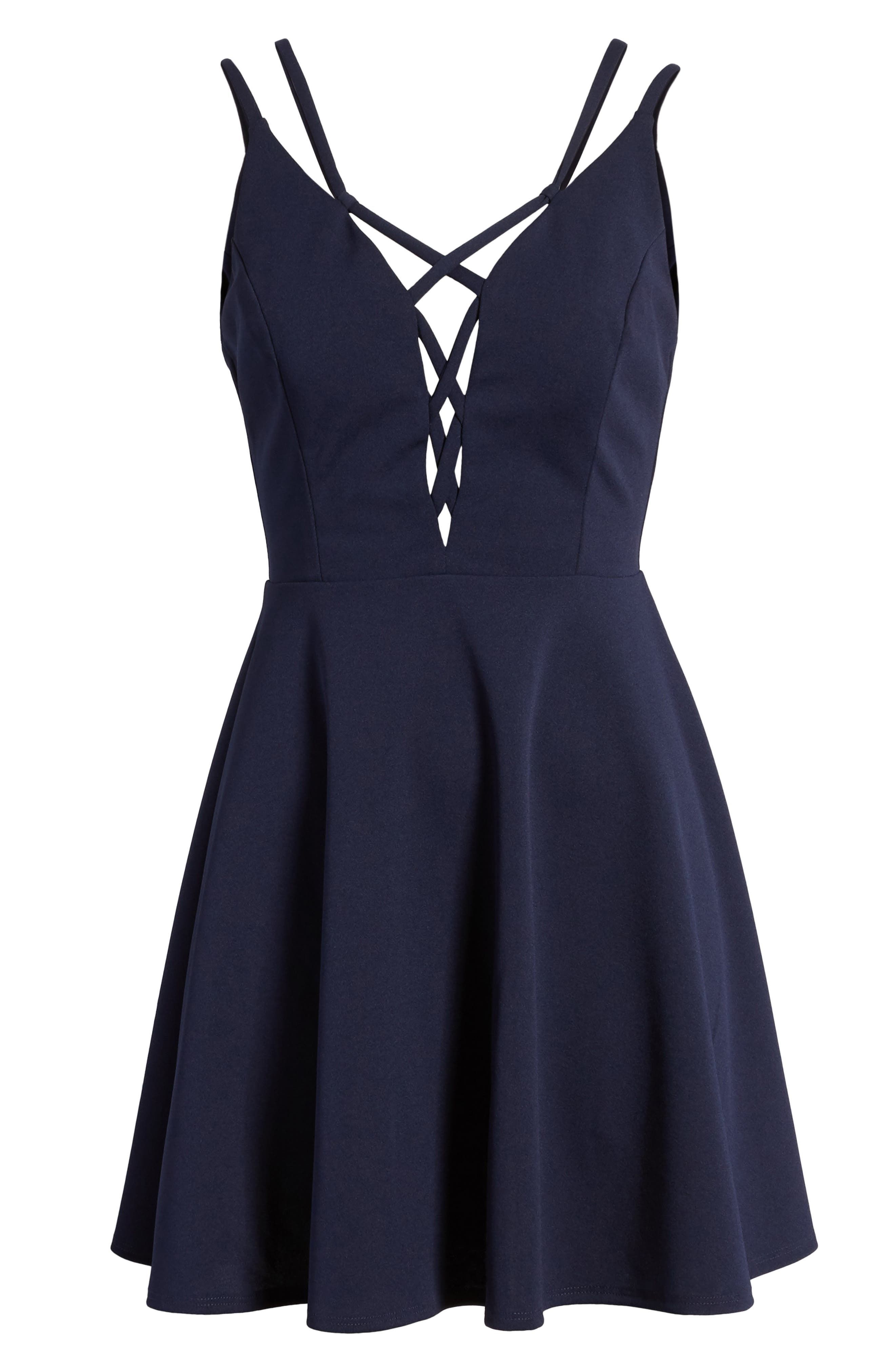 Lace-Up Skater Dress,                             Alternate thumbnail 7, color,                             Midnight