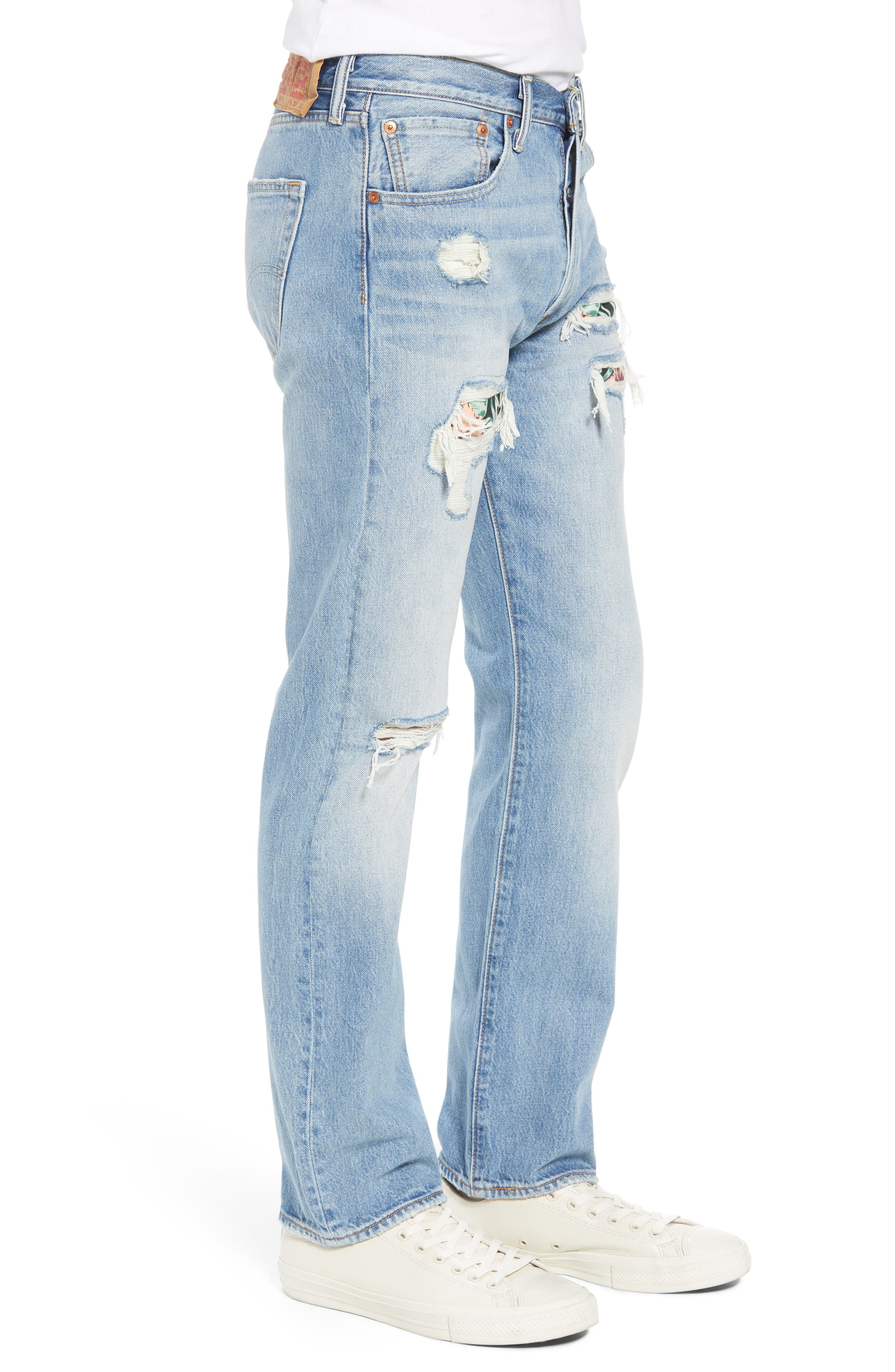 501<sup>®</sup> Original Straight Leg Jeans,                             Alternate thumbnail 3, color,                             Pieced Hawaiian Indigo