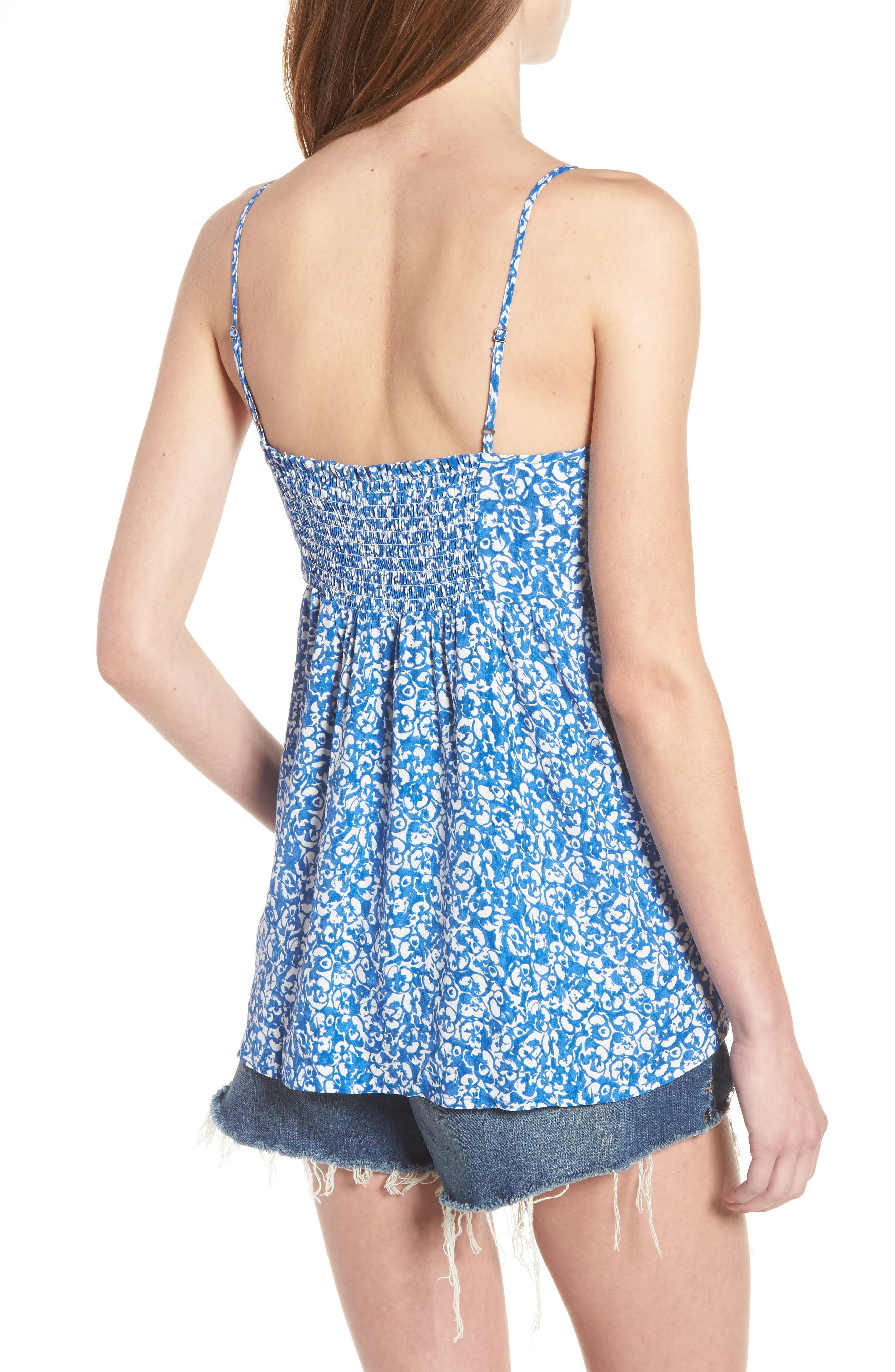 Print Tie Front Camisole,                             Alternate thumbnail 2, color,                             Blue Boat Lost Ditsy