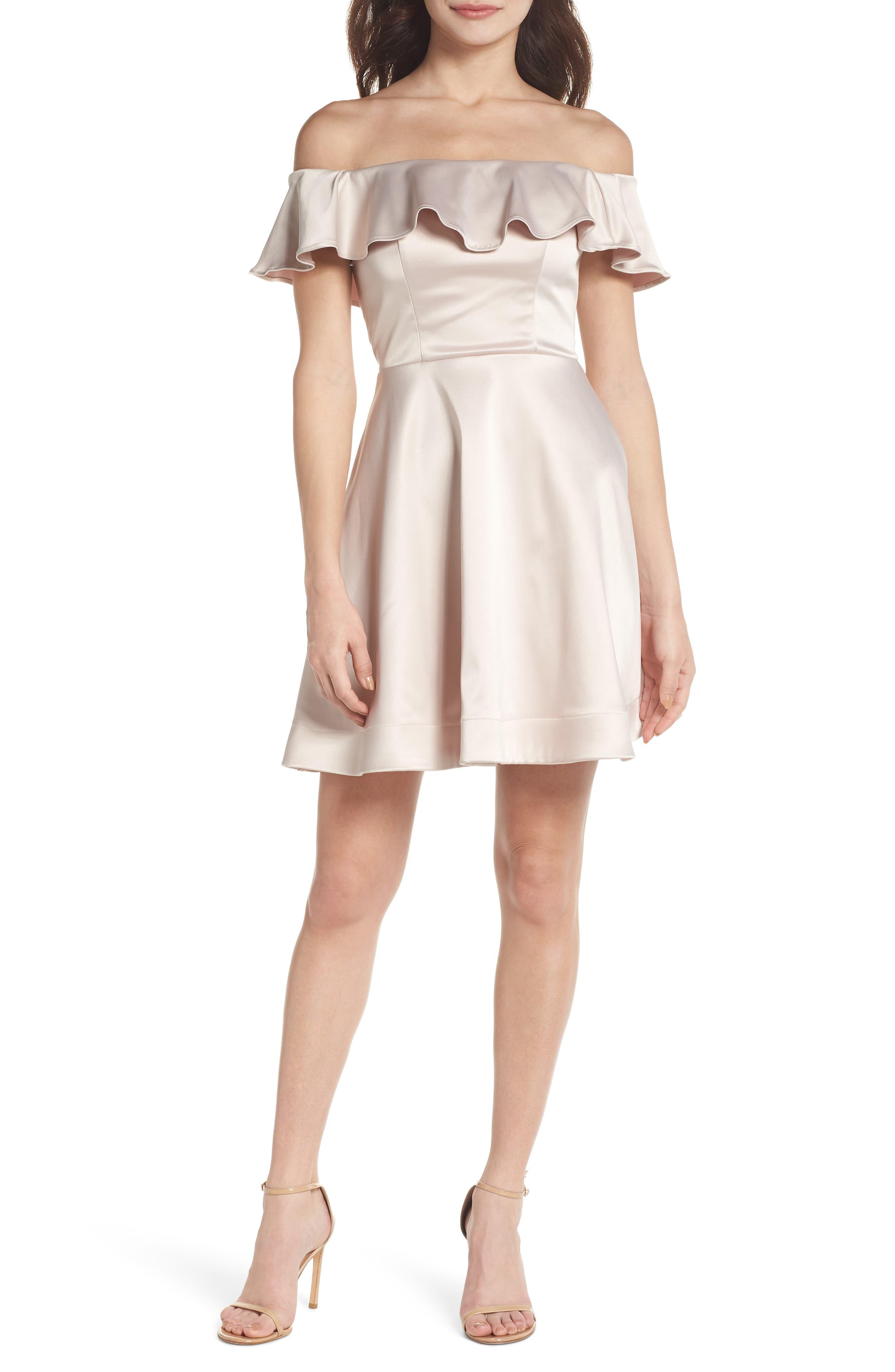 Off the Shoulder Satin Fit & Flare Dress,                             Main thumbnail 1, color,                             Blush