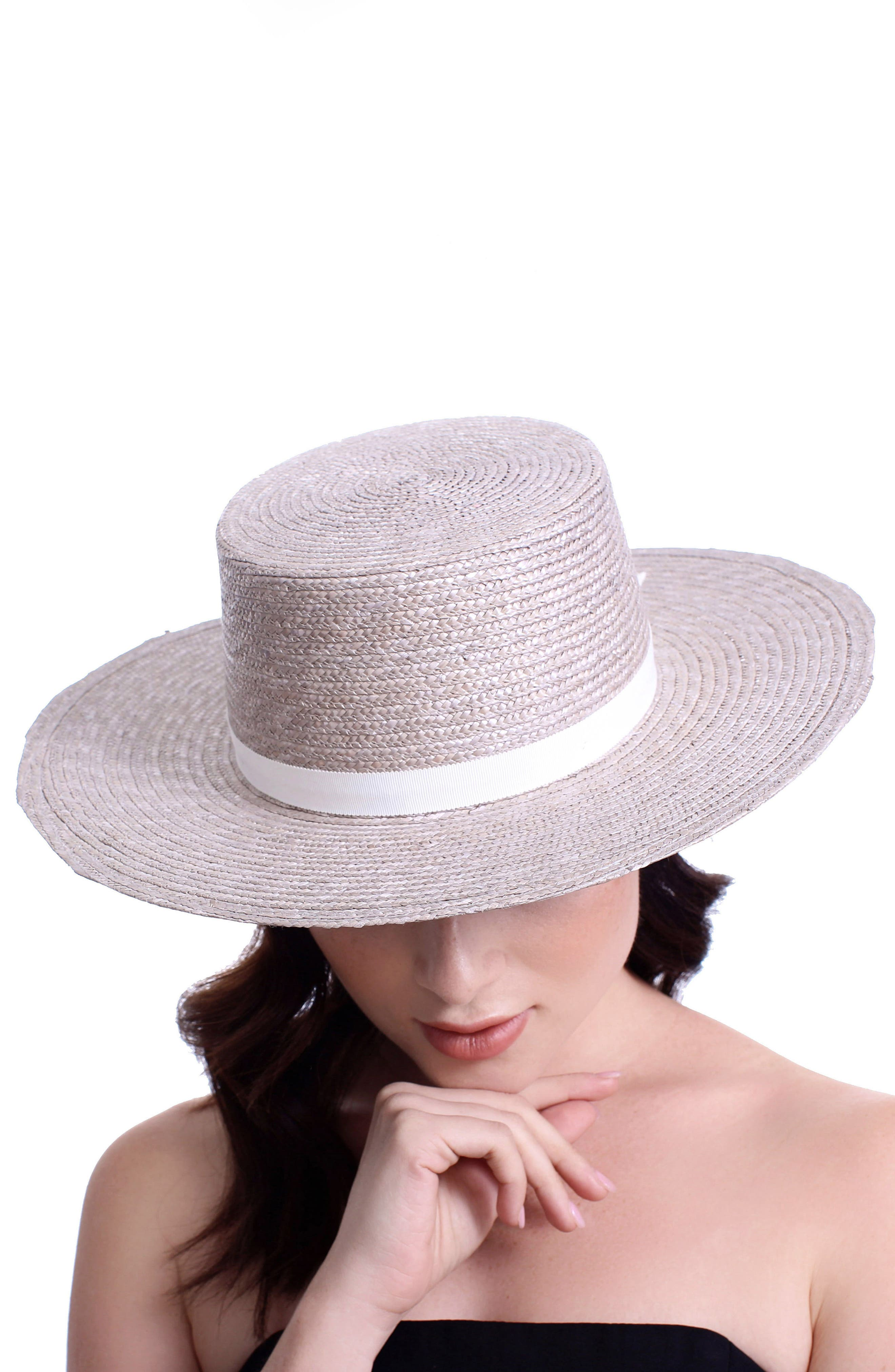 The Highland Straw Boater Hat,                             Alternate thumbnail 3, color,                             Silver