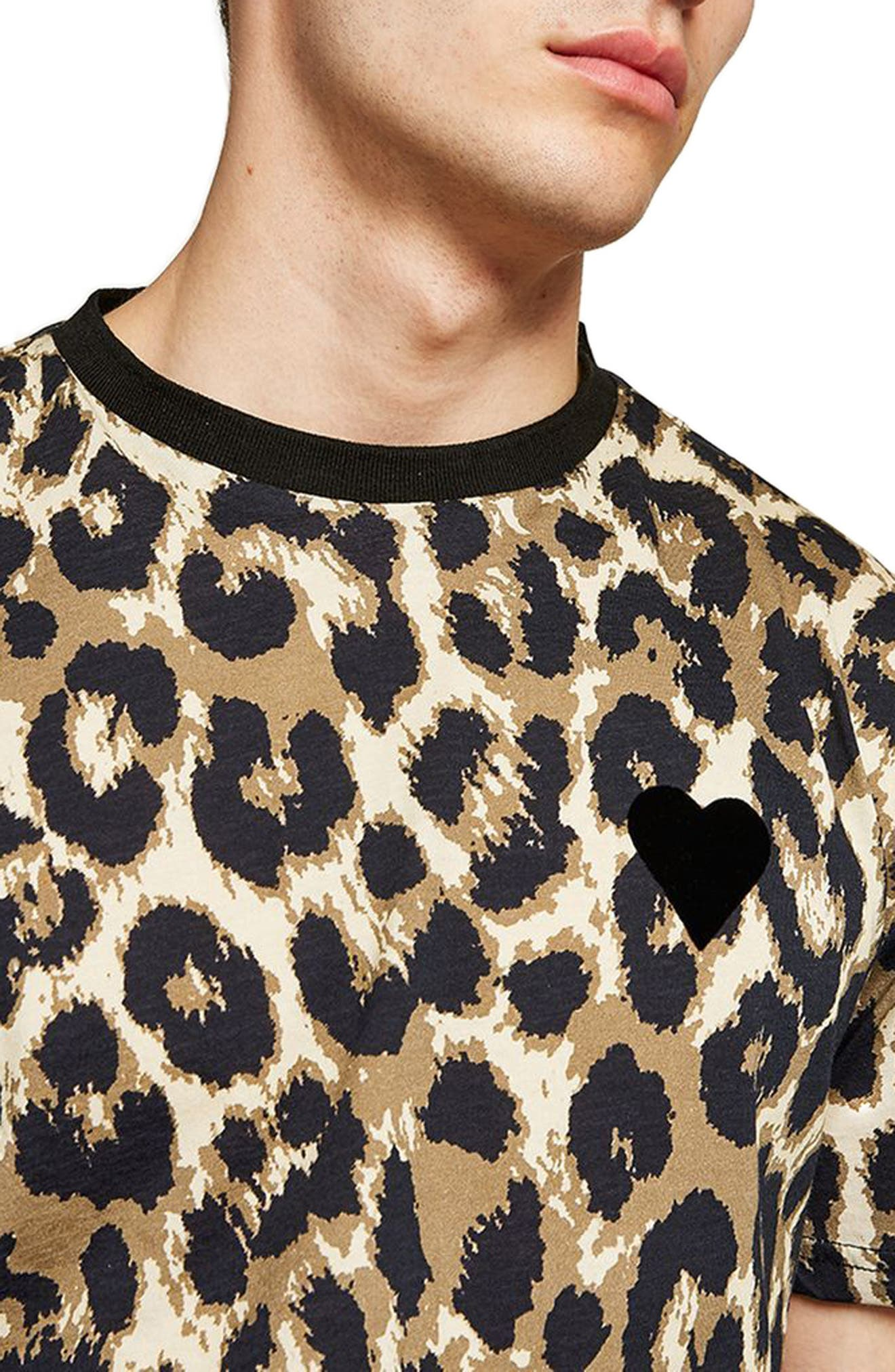 Classic Fit Leopard Print T-Shirt,                             Alternate thumbnail 3, color,                             Brown Multi