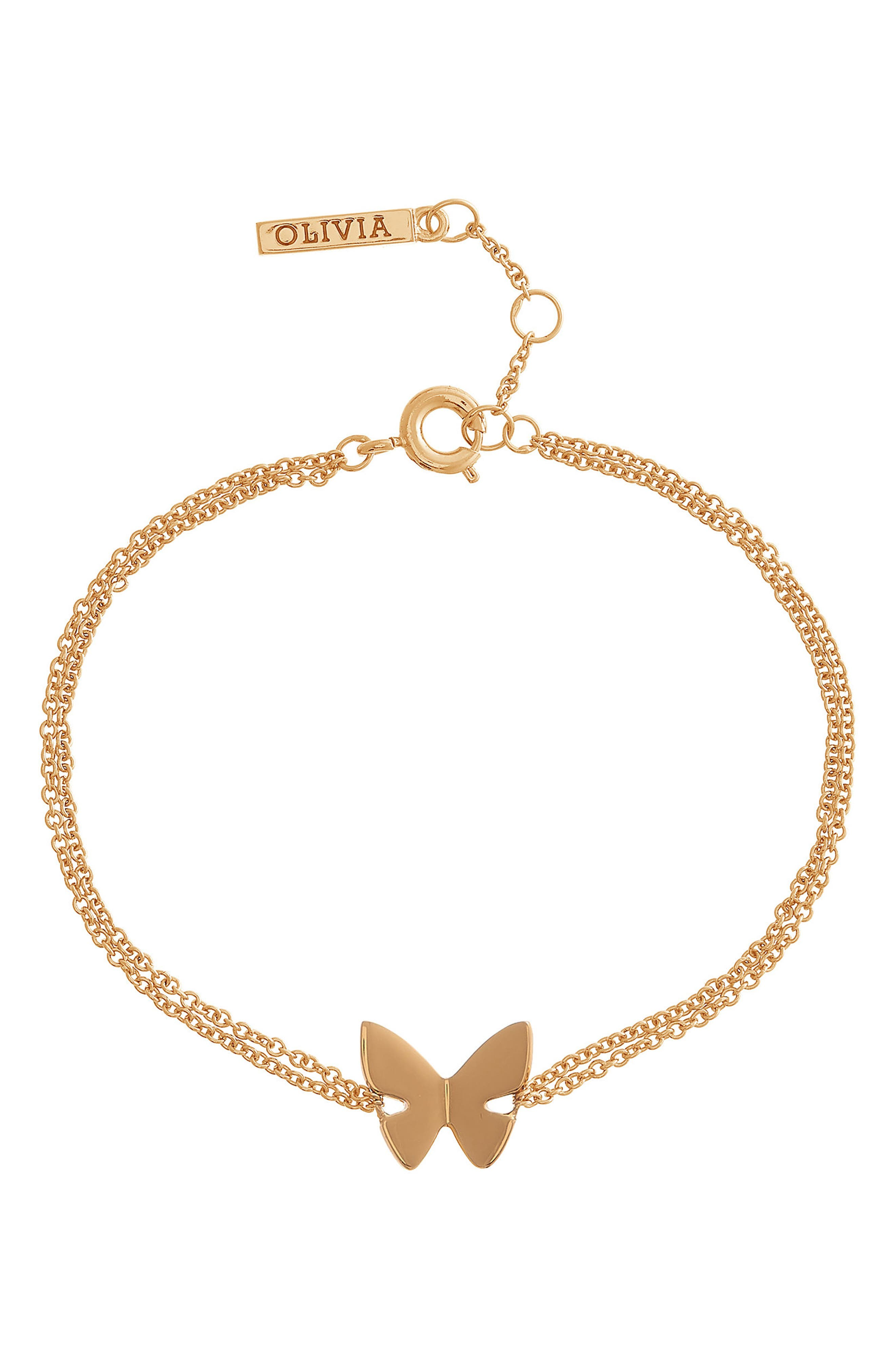 Social Butterfly Chain Bracelet,                         Main,                         color, Gold
