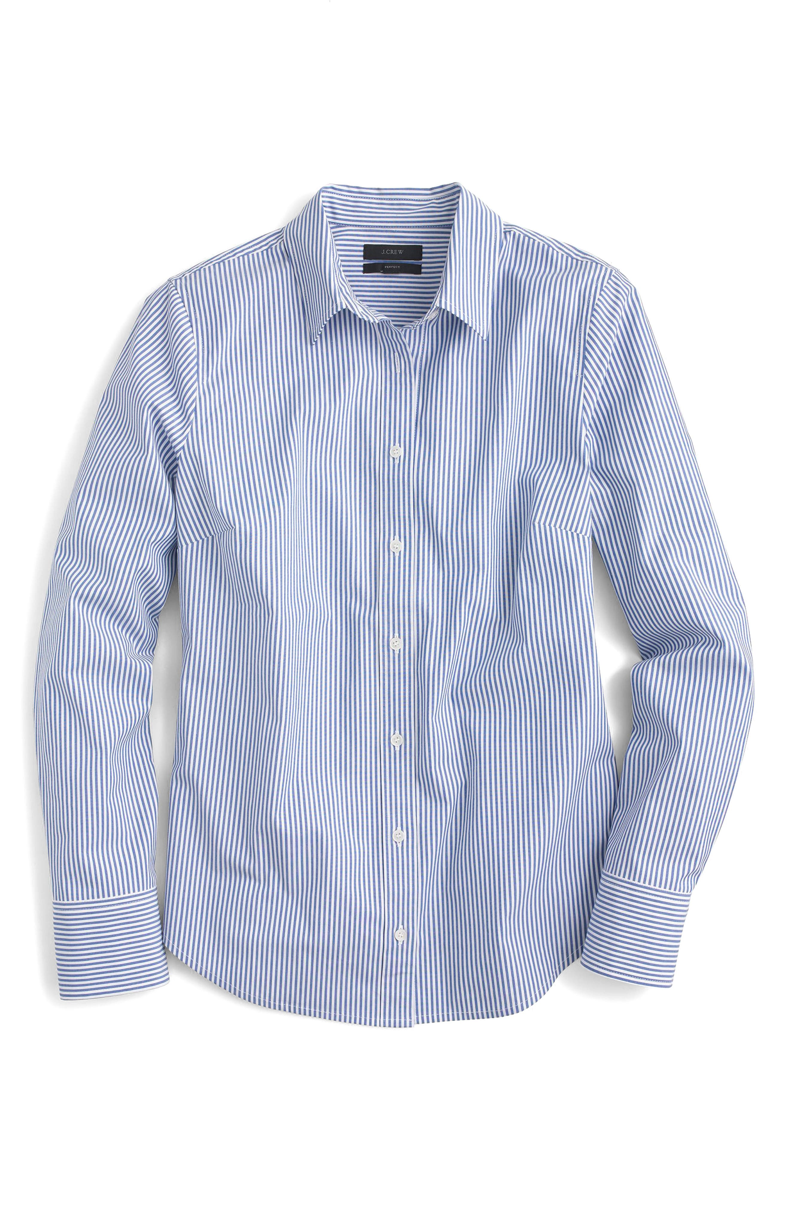 Classic Stripe Stretch Perfect Cotton Shirt,                             Alternate thumbnail 3, color,                             French Blue