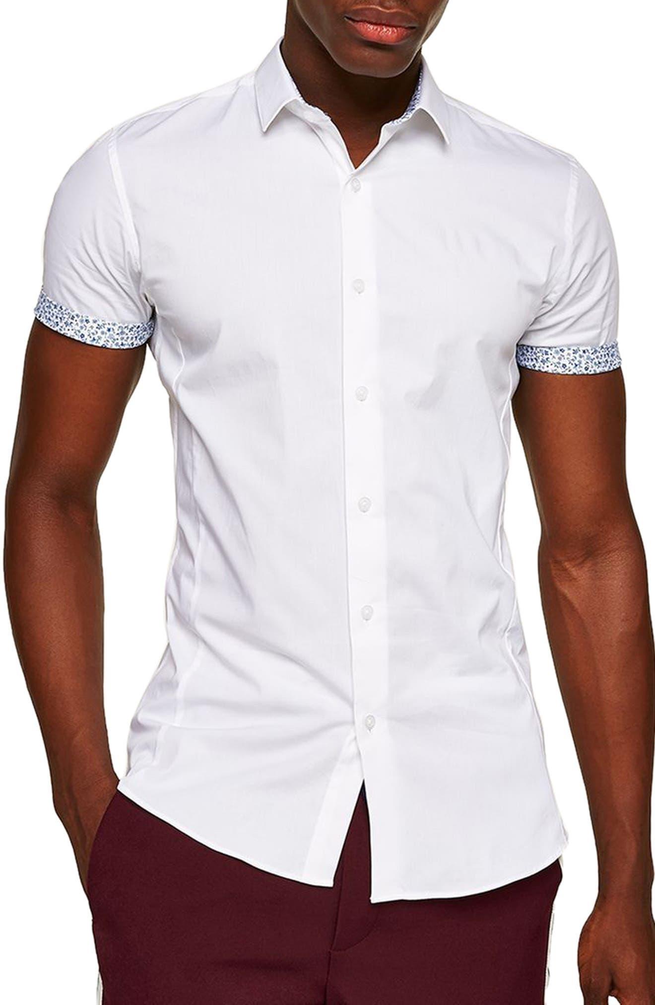 Muscle Fit Floral Trim Shirt,                         Main,                         color, White Multi