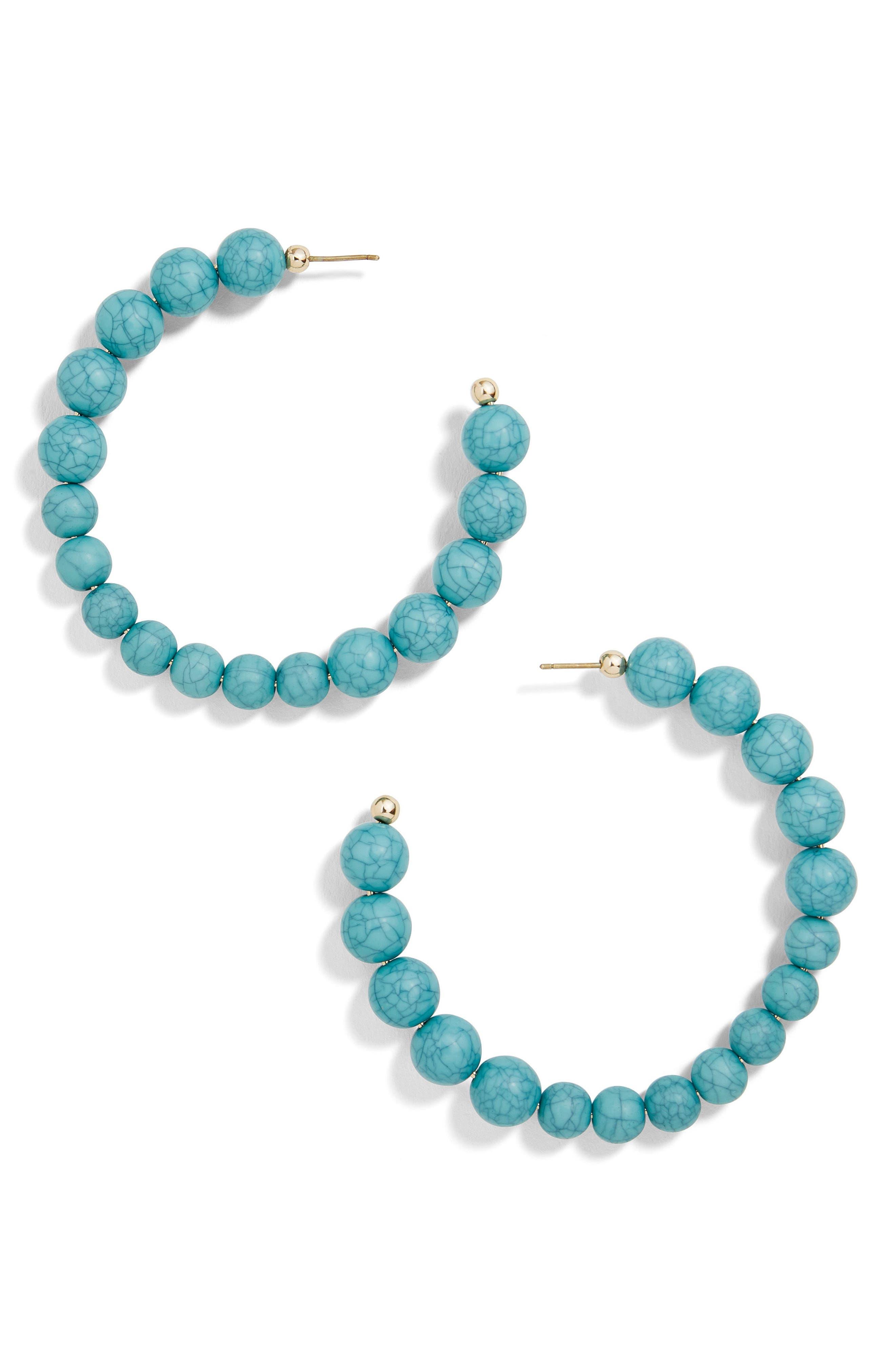 Cyrena Beaded Hoop Earrings,                             Main thumbnail 1, color,                             Turquoise
